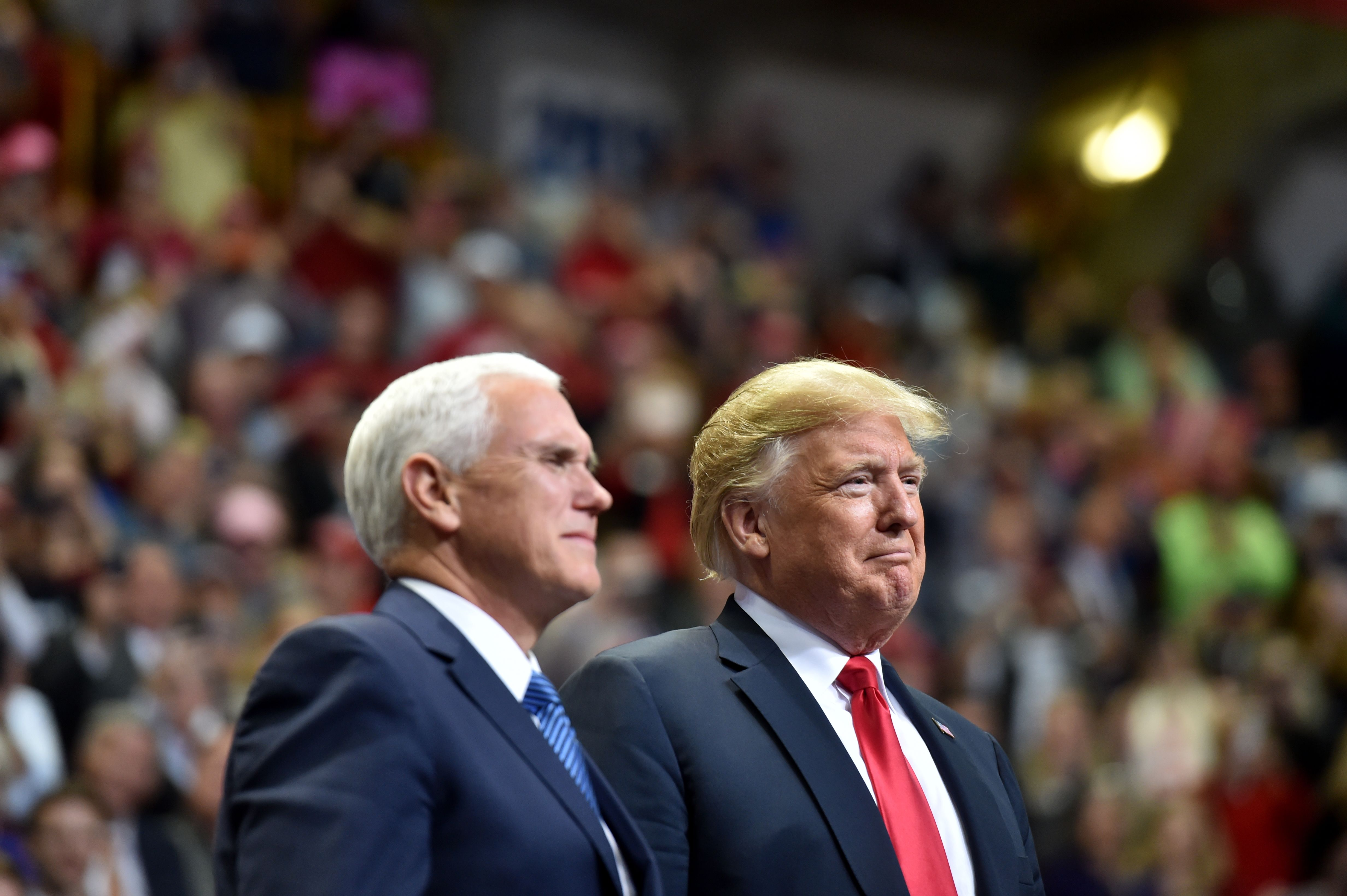 President Donald Trump and Vice President Mike Pence arrive for a  Make America Great Again  campaign rally at McKenzie Arena, in Chattanooga, Tennessee on Nov. 4, 2018.