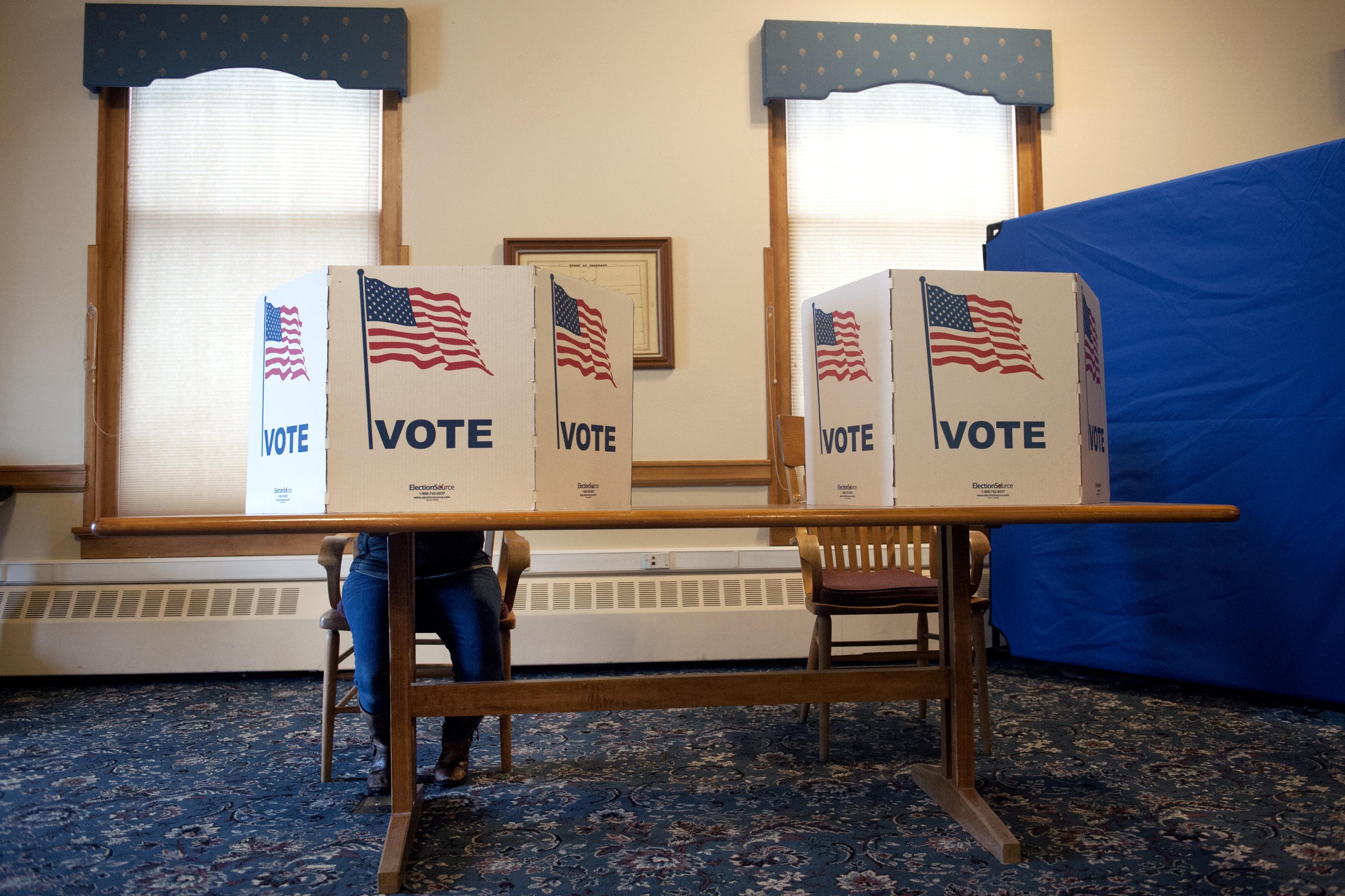 A voter cast her midterm ballot in Breckenridge, Colorado on Nov. 6, 2018.