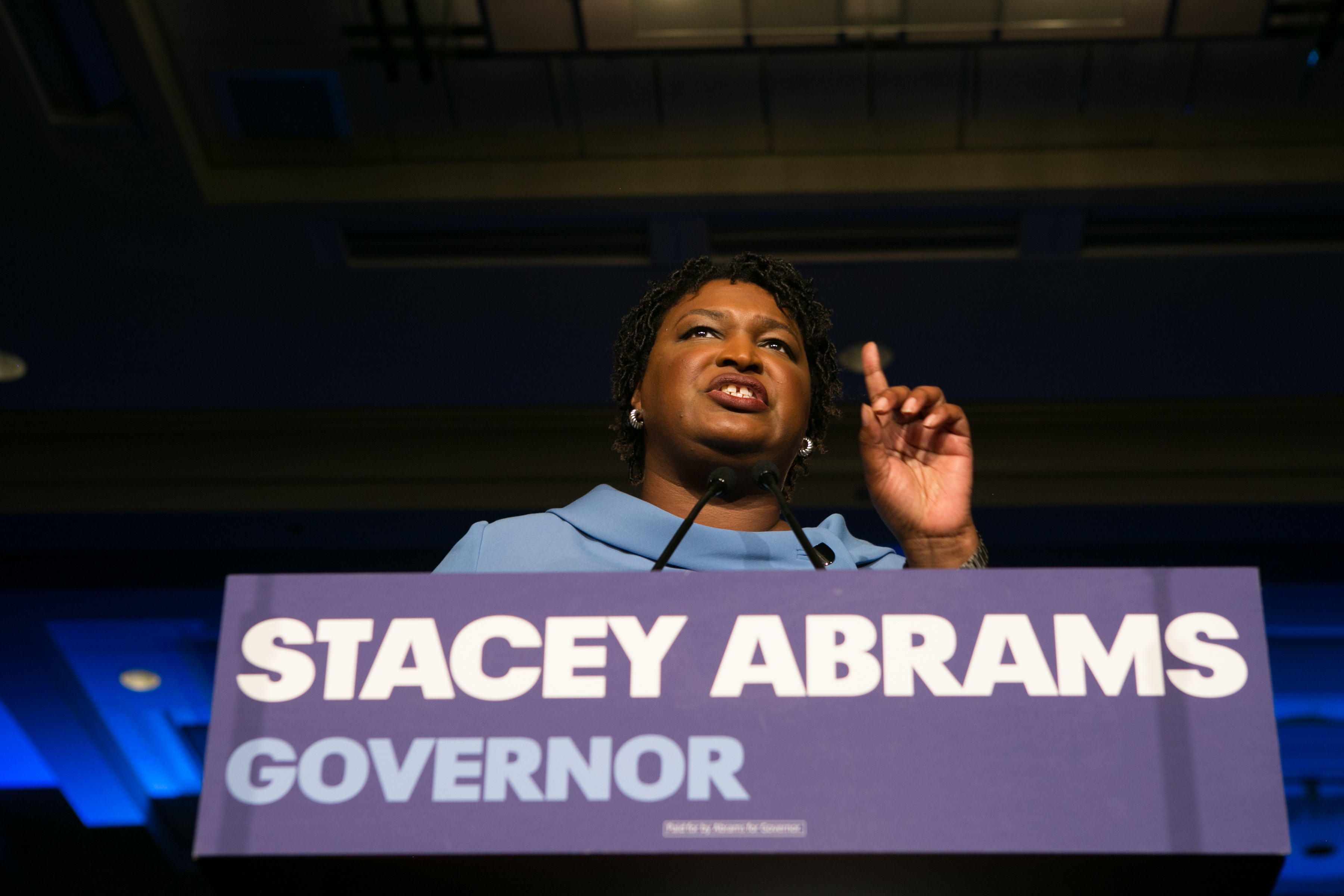 Democratic Gubernatorial candidate Stacey Abrams addresses supporters at an election watch party in Atlanta, Georgia. on Nov. 6, 2018.