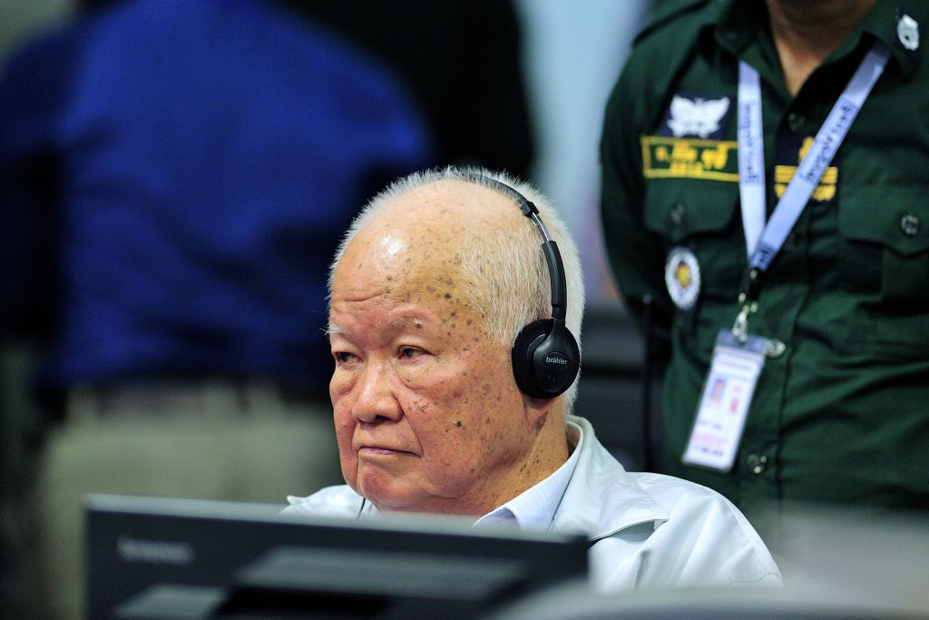 Former Khmer Rouge head of state Khieu Samphan sits in court at the Extraordinary Chambers in the Courts of Cambodia (ECCC) in Phnom Penh on Nov. 16, 2018.