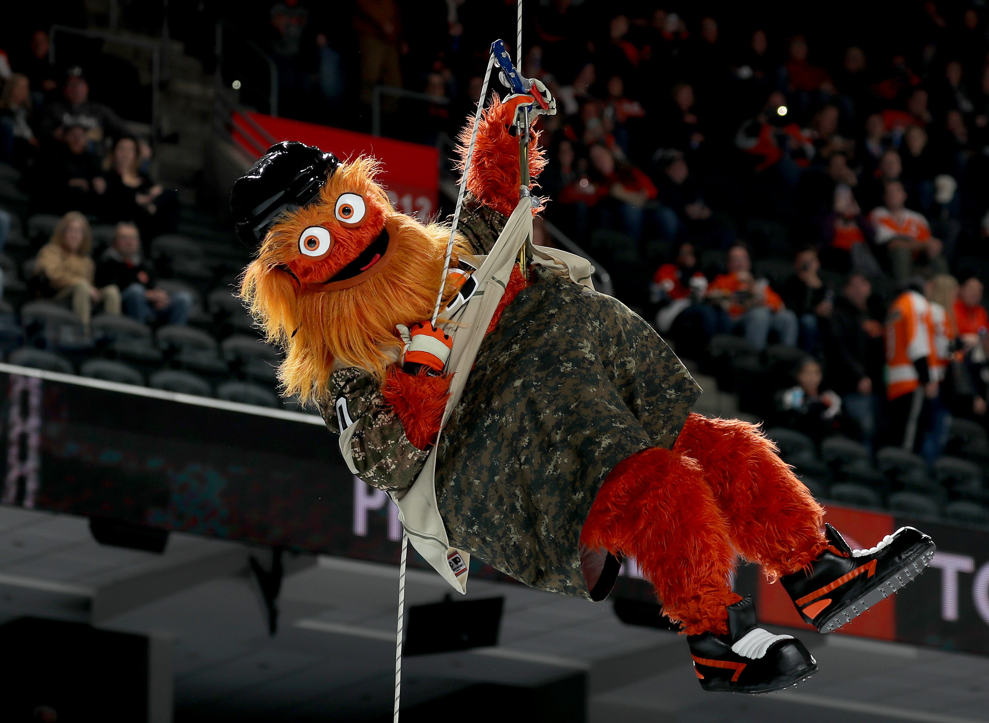 The Philadelphia Flyers mascot Gritty makes an entrance before the game between the Philadelphia Flyers and the Chicago Blackhawks at Wells Fargo Center on November 10, 2018 in Philadelphia, Pennsylvania. (Photo by Elsa/Getty Images)