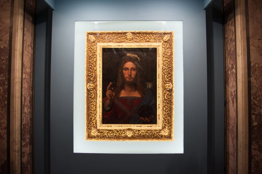 """Napoli Opening Exhibition at Diocesan Museum of Donnaregina with """"Salvator Mundi"""" by Leonardo Da Vinci from 12 January to 31 March. Other works of Leonardo's school in the exhibition, including: Christ Blessing of San Domenico Maggiore di Girolamo Alibrandi, Christ Child of Gian Giacomo Caprotti said Salaì. The inauguration was attended by Vincenzo De Luca Governor of the Campania Region, Cardinal Crescenzio Sepe and Professor Carlo Pedretti author of the study that attributes the work to Leonardo Da Vinci on January 11, 2017 in Naples, Italy."""