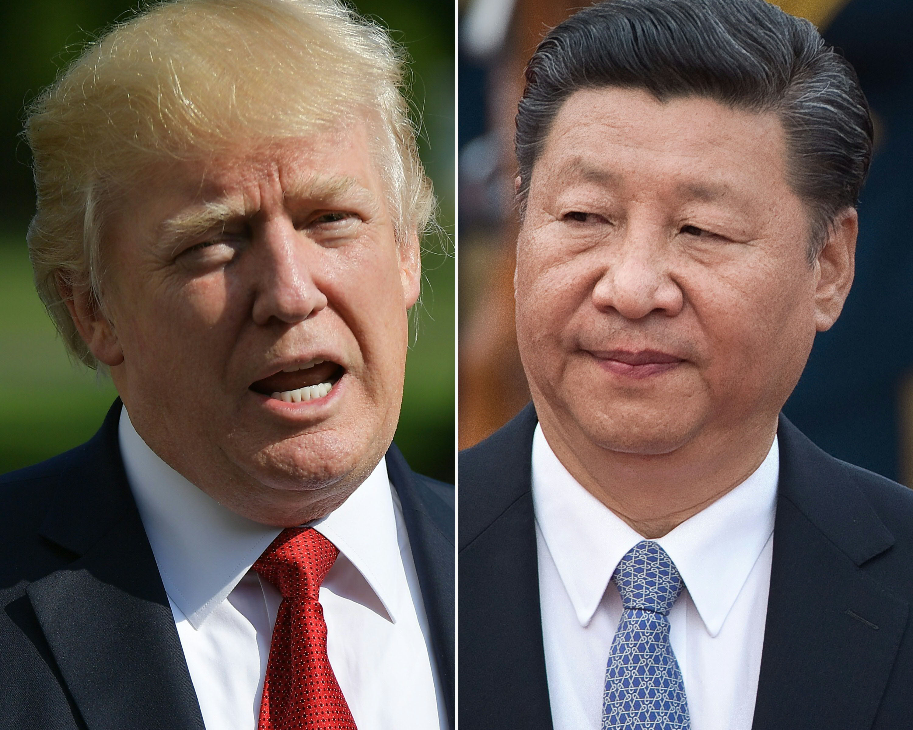 U.S. President Donald Trump in Washington, DC on Sept.10, 2017 and Chinese President Xi Jinping in Beijing on Sept. 13, 2017.