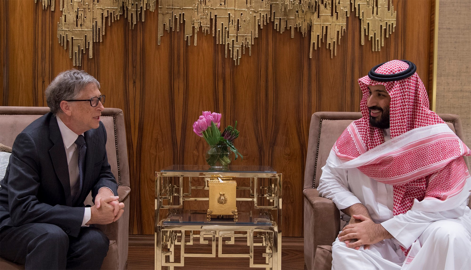 Crown Prince of Saudi Arabia Mohammad bin Salman (R) meets with Microsoft founder Bill Gates (L) in Riyadh, Saudi Arabia
