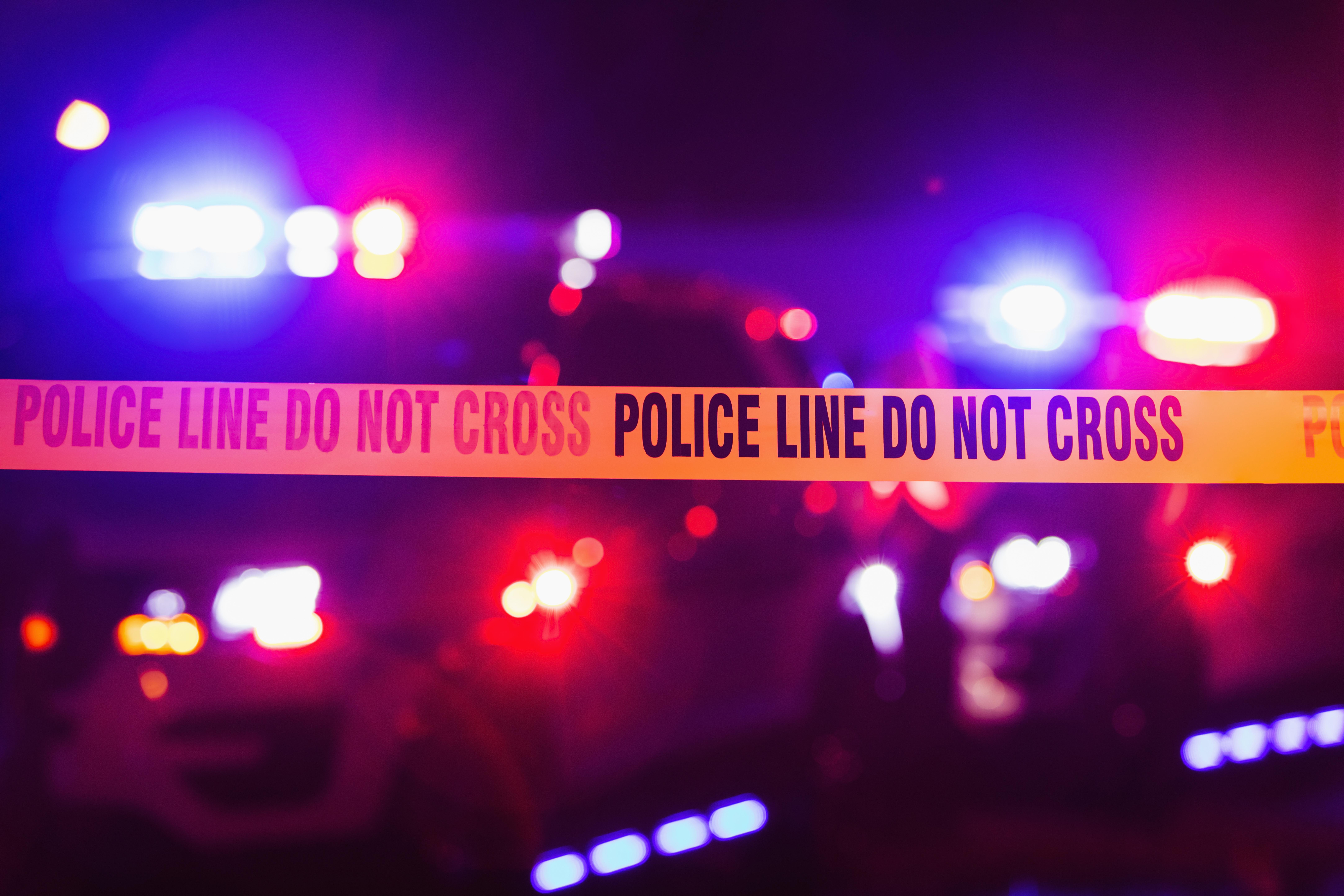Police work a crime scene.