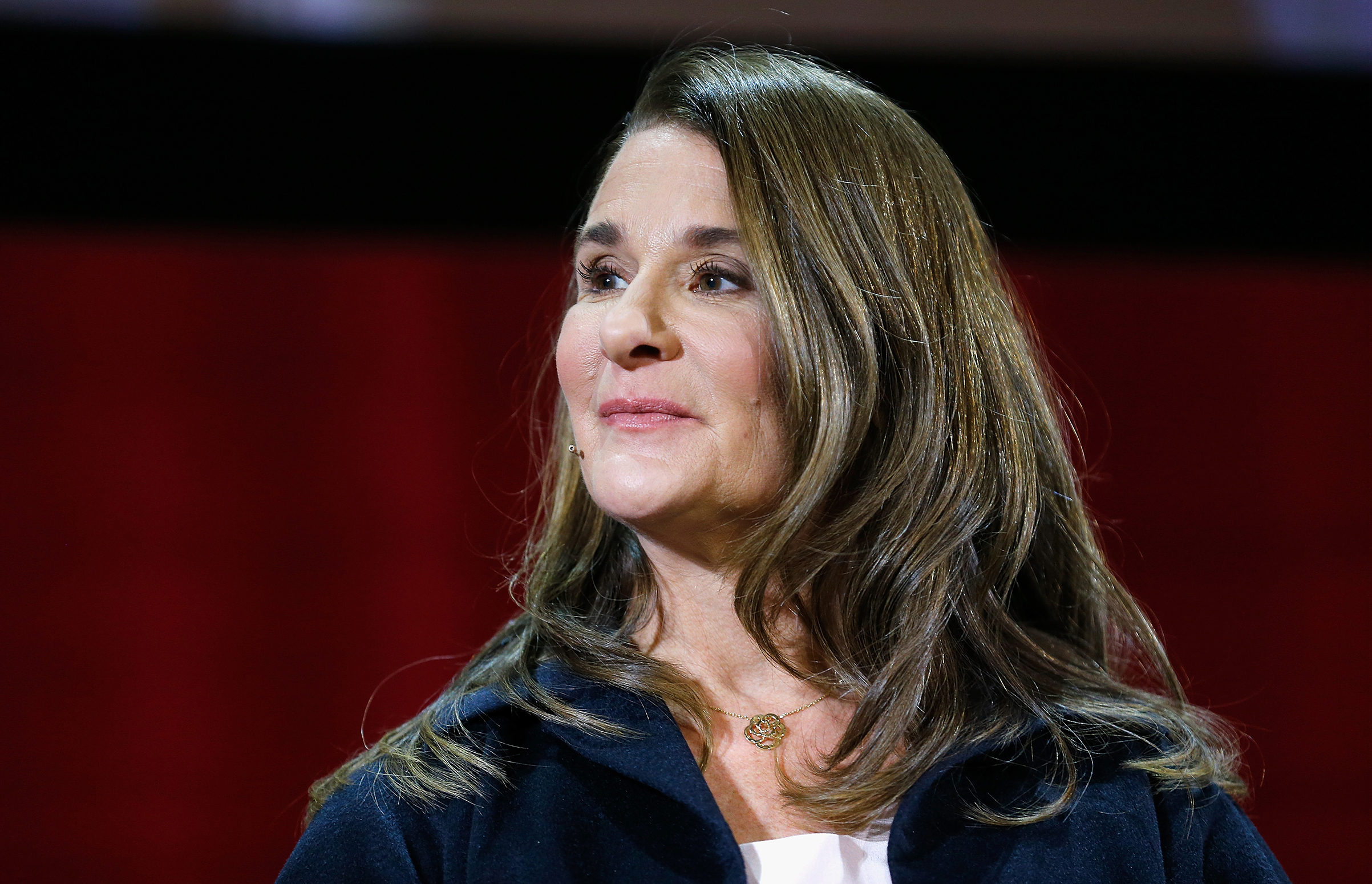 Melinda Gates speaks during an event with  Lin-Manuel Miranda and Bill Gates in February 2018.