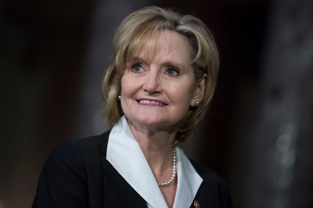 APRIL 9: Sen. Cindy Hyde-Smith, R-Miss., attends her swearing-in ceremony the Capitol's Old Senate Chamber