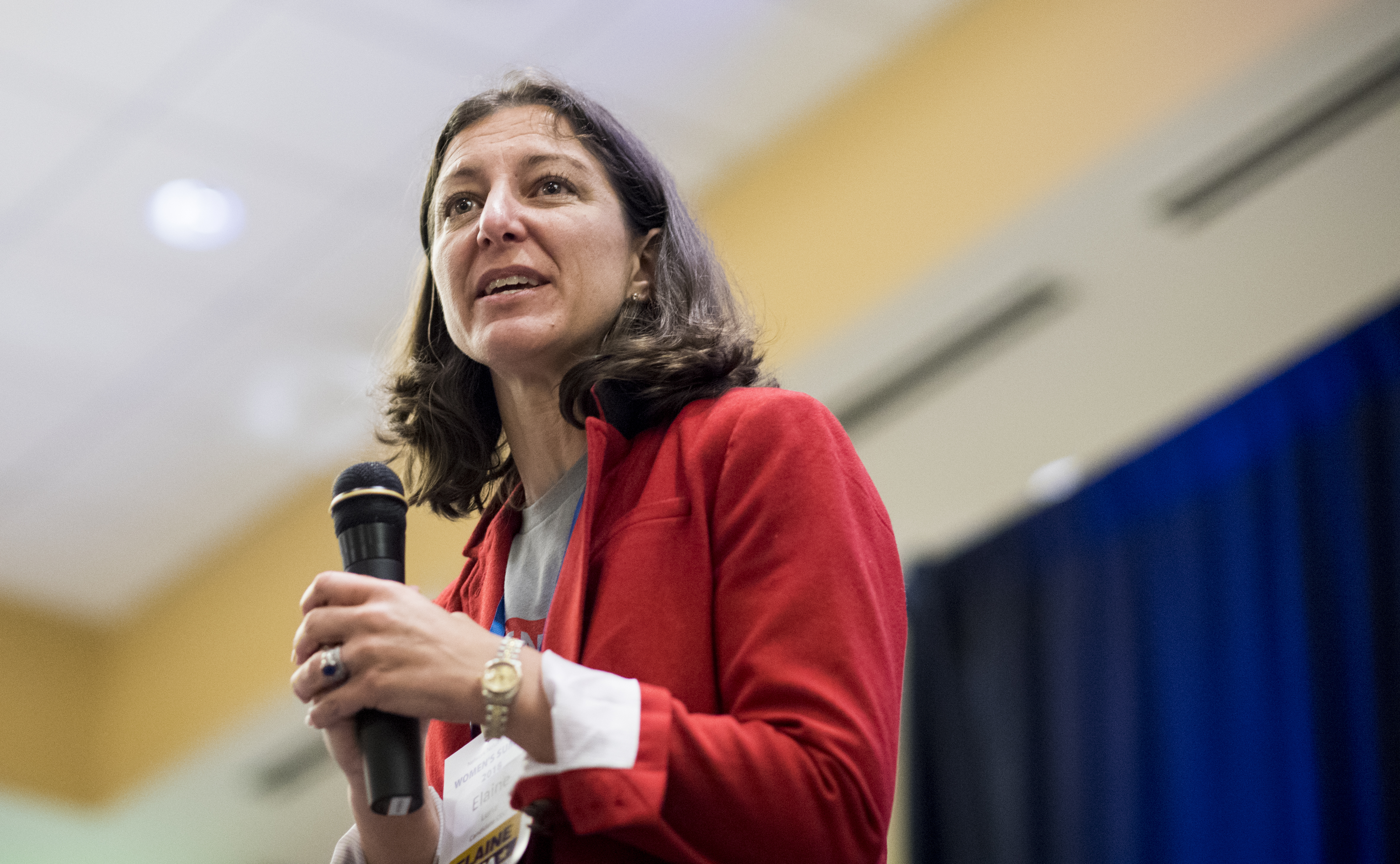 Elaine Luria, Democratic candidate for the 2nd congressional district of Virginia, speaks during the Women's Summit in Herndon, Va., on Saturday June 23, 2018.