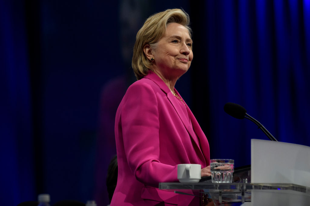 Hillary Clinton speaks at the annual convention of the American Federation of Teachers in Pittsburgh, Penn. on July 13, 2018.