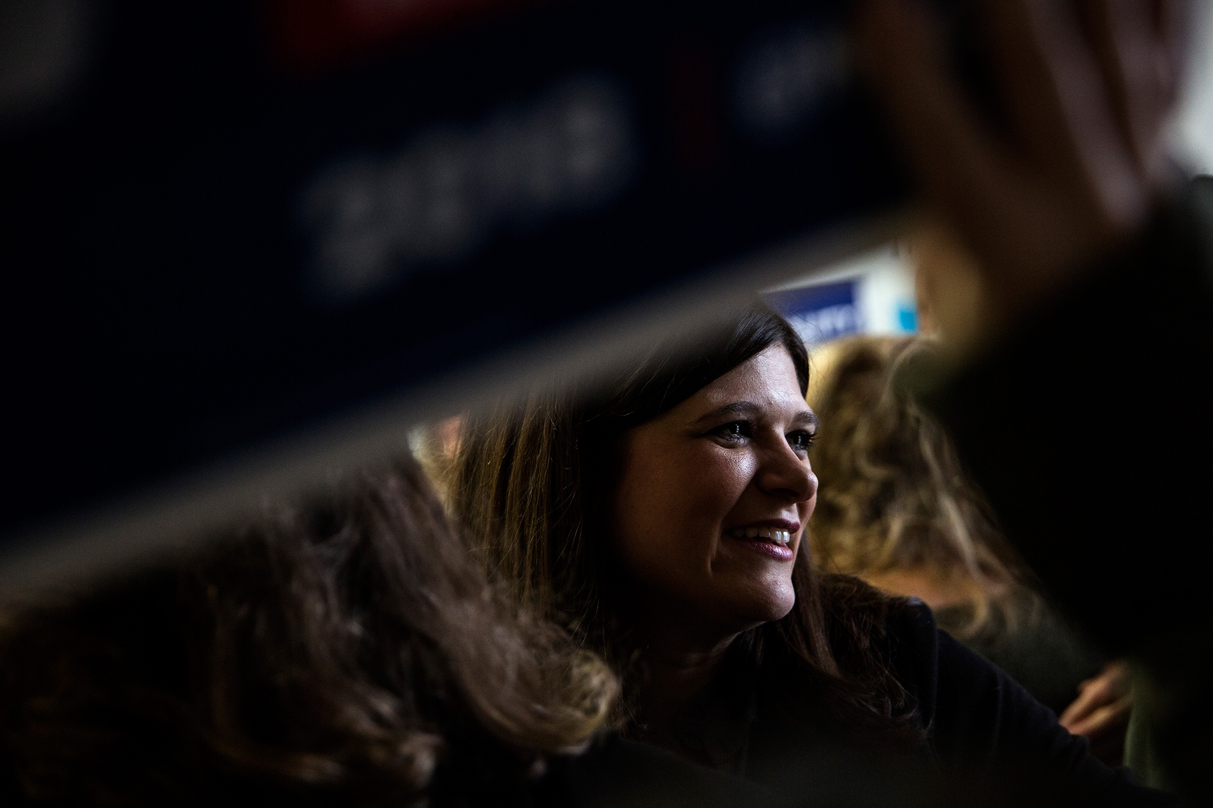 Democratic candidate for Michigan's 11th Congressional District Haley Stevens talks to supporters and volunteers while launching election day canvassing at her Field Office in Troy, Mich, on Nov. 6, 2018.