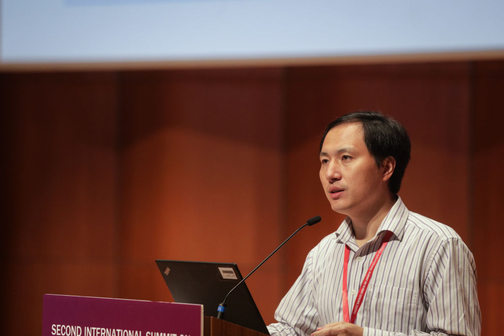 Chinese geneticist He Jiankui of the Southern University of Science and Technology in Shenzhen, China, speaking during the Second International Summit on Human Genome Editing at the University of Hong Kong.