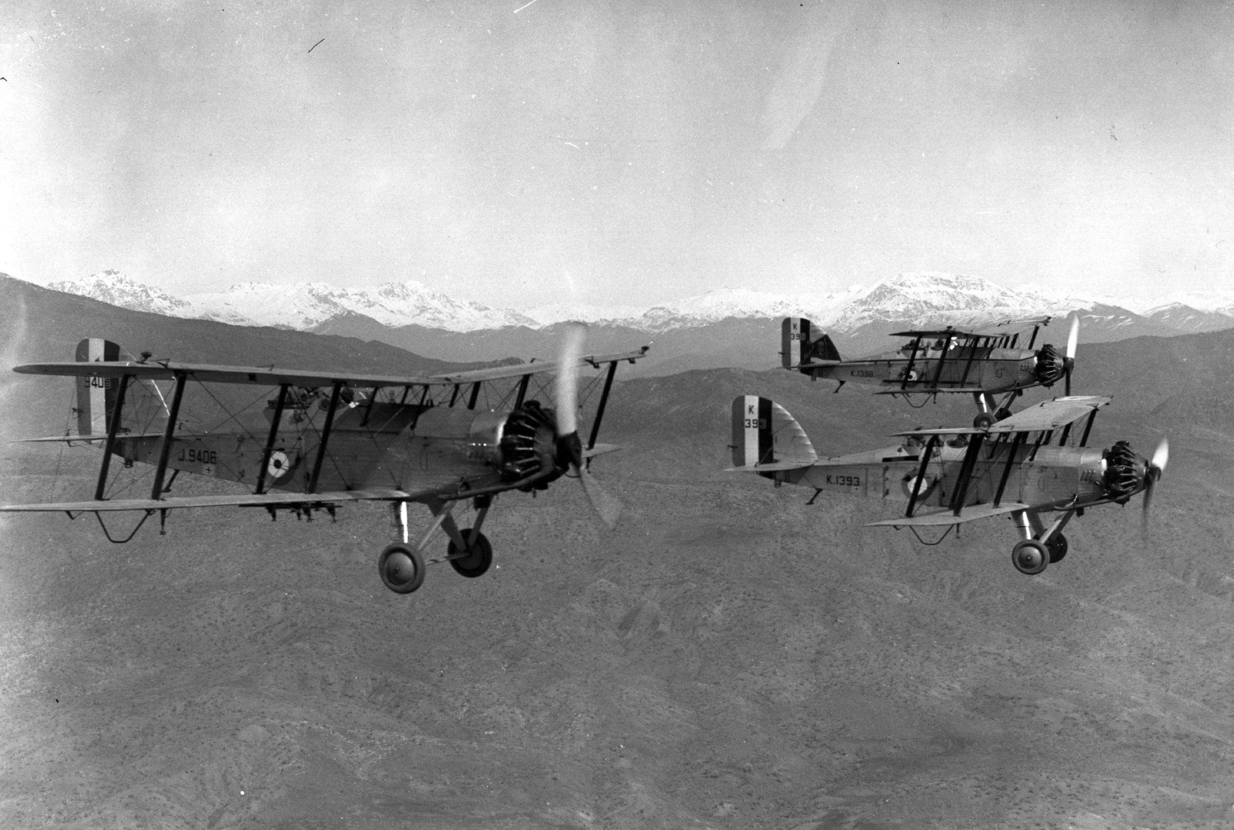 Royal Air Force Westland Wapitis carry out a reconnaissance flight over the mountains of Kurdistan, March 1934.