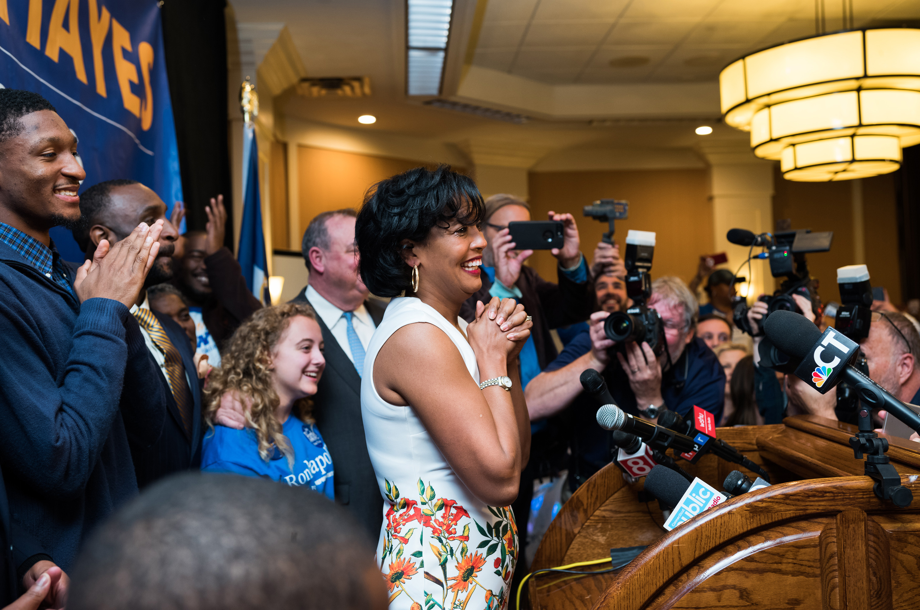 Jahana Hayes delivers an impassioned speech after declaring victory in the race for U.S. House of Representatives 5th District.