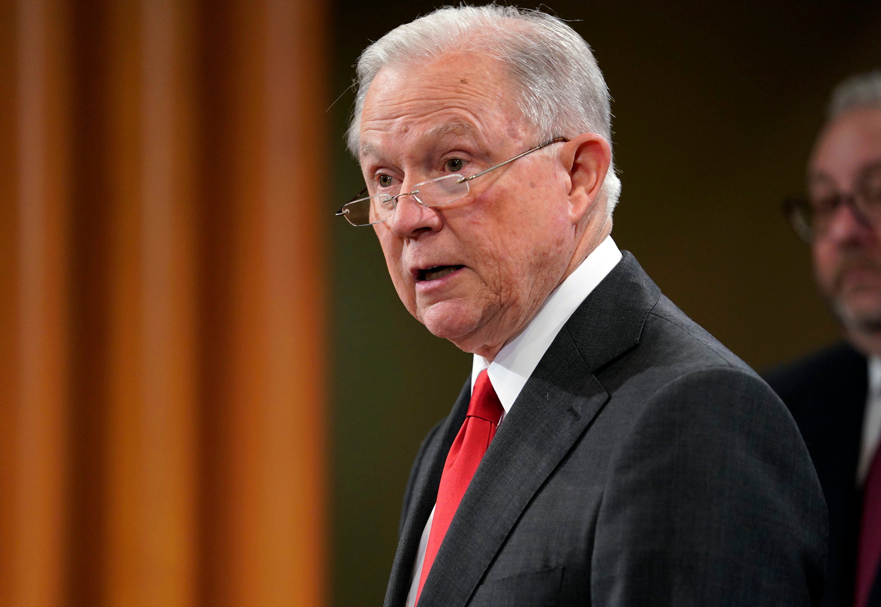 Attorney General Jeff Sessions speaks during a news conference in Washington on Nov. 1, 2018. Sessions resigned from the position on Wednesday.