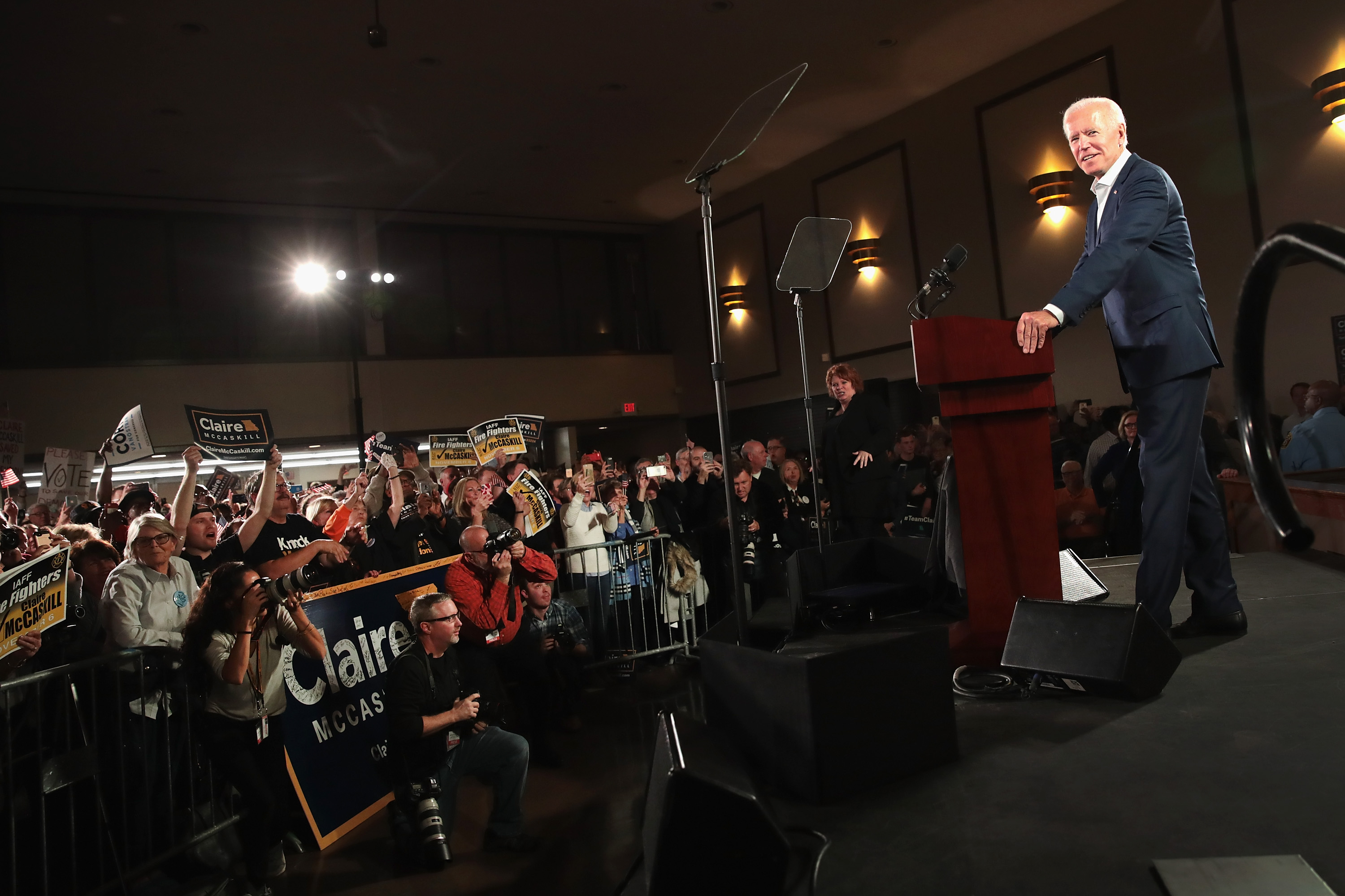 BRIDGETON, MO - OCTOBER 31:  Former Vice President Joe Biden speaks to supporters of Senator Claire McCaskill at a  get out the vote  rally which on October 31, 2018 in Bridgeton, Missouri. McCaskill is in a tight race with her Republican challenger Missouri Attorney General Josh Hawley.  (Photo by Scott Olson/Getty Images)