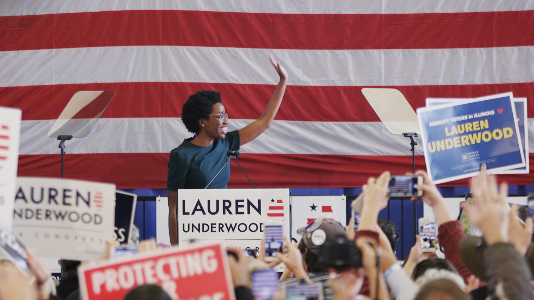 Lauren Underwood at an early vote rally in St. Charles, Illinois