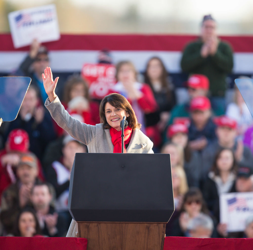 Wis. Sen. Leah Vukmir (R-Wis.) talks to the crowd before U.S. President Donald Trump makes an appearance at a rally on October 24, 2018 in Mosinee, Wisconsin.