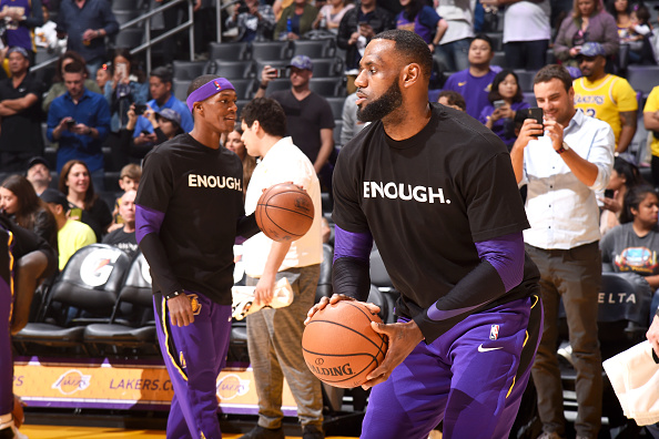 LeBron James #23 of the Los Angeles Lakers warms up before the game against the Atlanta Hawks on November 11, 2018 at STAPLES Center in Los Angeles, California.