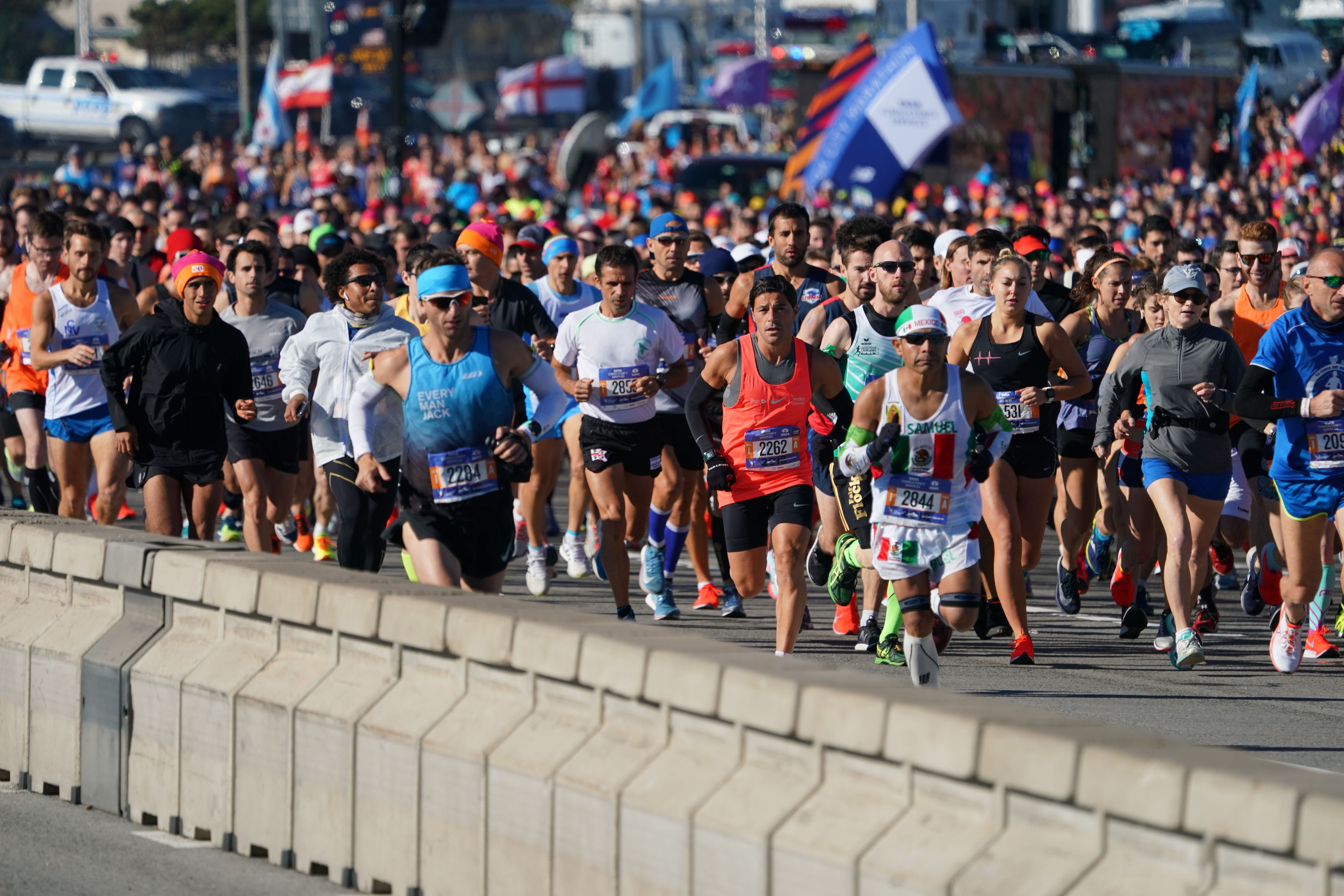 Runners take part in the 47th running of the New York City Marathon on November 4, 2018 in New York.