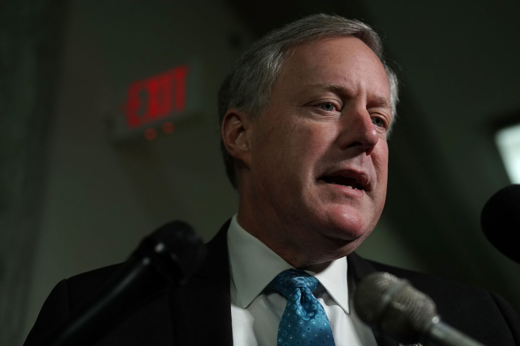 U.S. Rep. Mark Meadows speaks to members of the media as he arrives at a closed door hearing before the House Judiciary and Oversight Committee October 25, 2018 in Washington, DC. It was announced on Nov. 16, 2018 that Meadows will receive a sanction from the House Ethics committee for his handling of sexual harassment complaints that began in 2013.