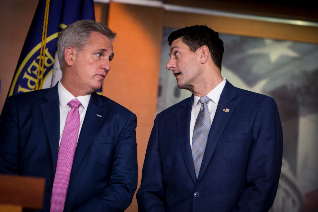House Majority Leader Rep. Kevin McCarthy, R-Calif., speaks with Speaker of the House Rep. Paul Ryan, R-Wis., during a press conference with House Republican Leaders in the House Studio on Sept. 13, 2018.