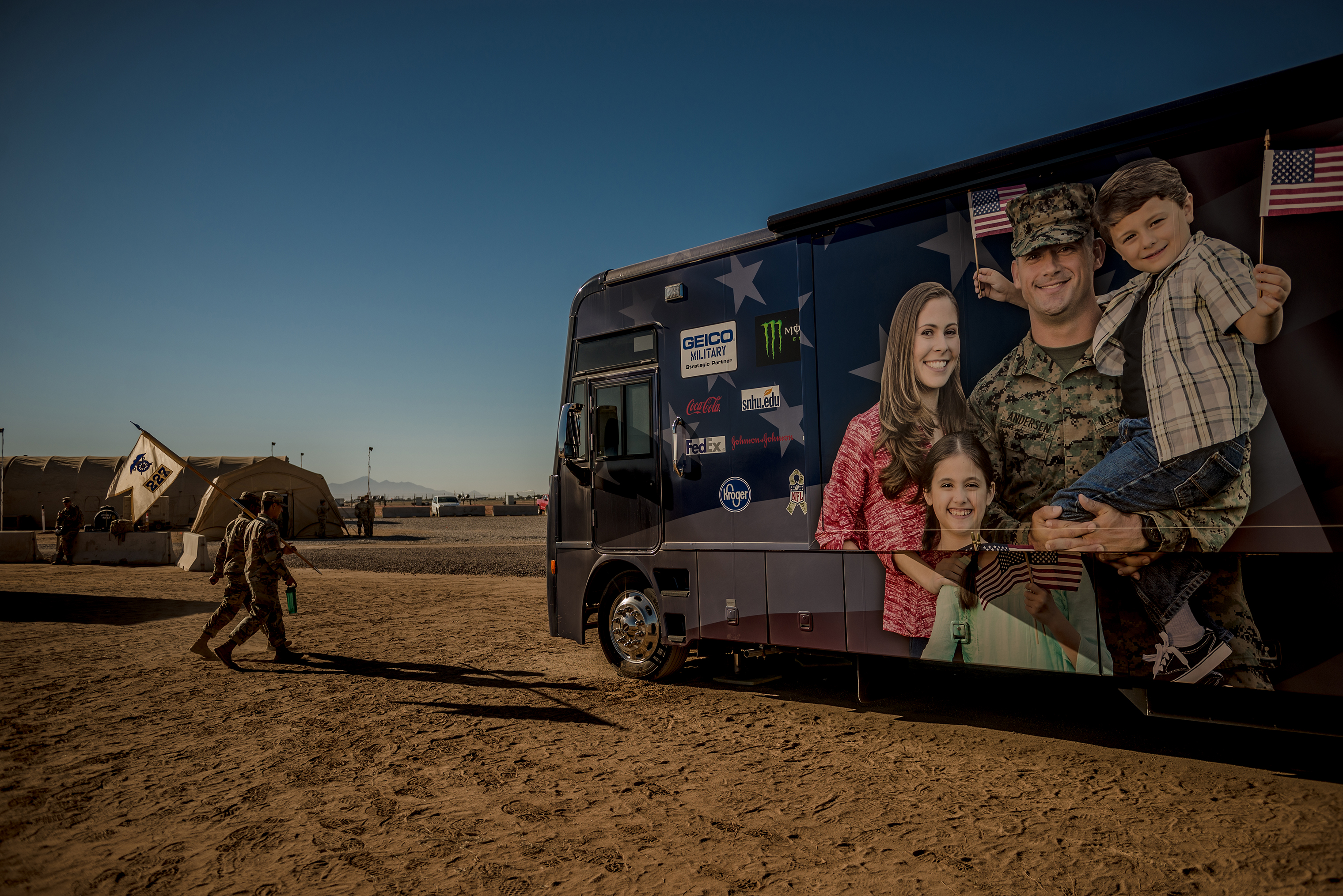 A USO RV, where soldiers can hang out, watch movies and charge cell phones, at Sunglow City.