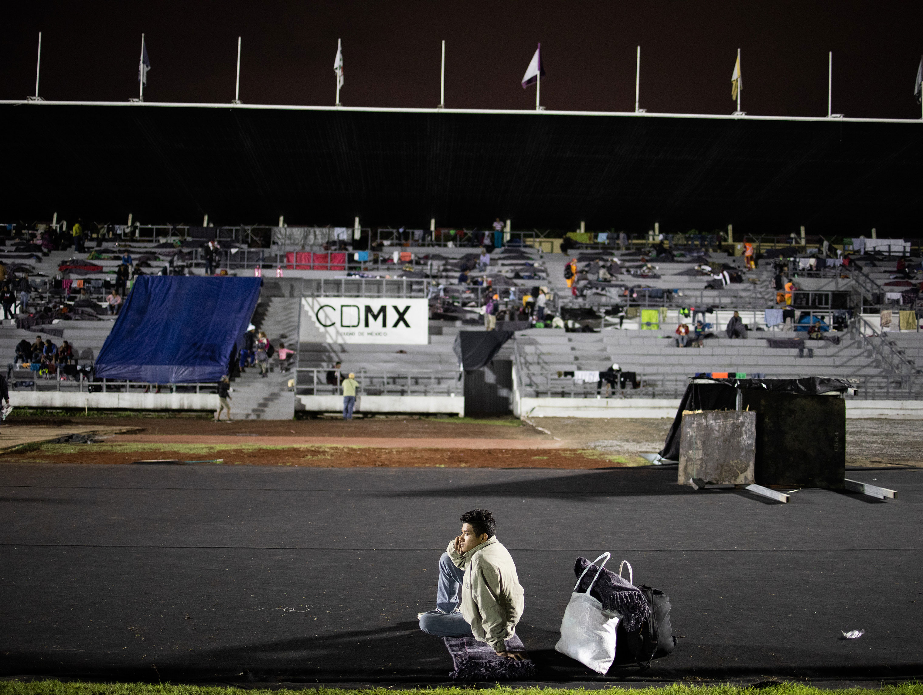 Migrants find shelter in the Jesus Martinez stadium, in Mexico City, Mexico on Nov. 4, 2018.