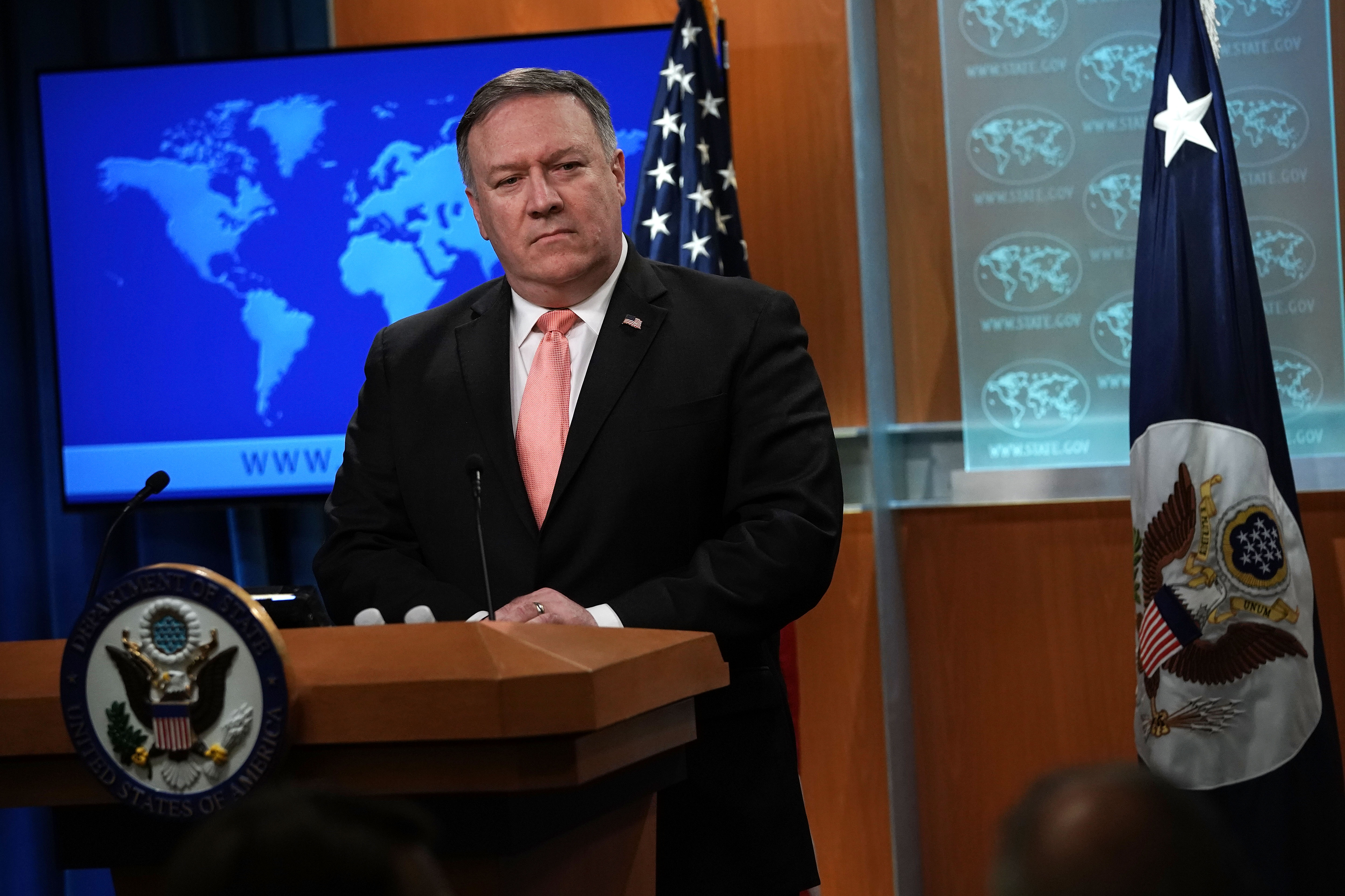 U.S. Secretary of State Mike Pompeo speaks to members of the media in the briefing room of the State Department Oct. 23, 2018 in Washington, D.C.