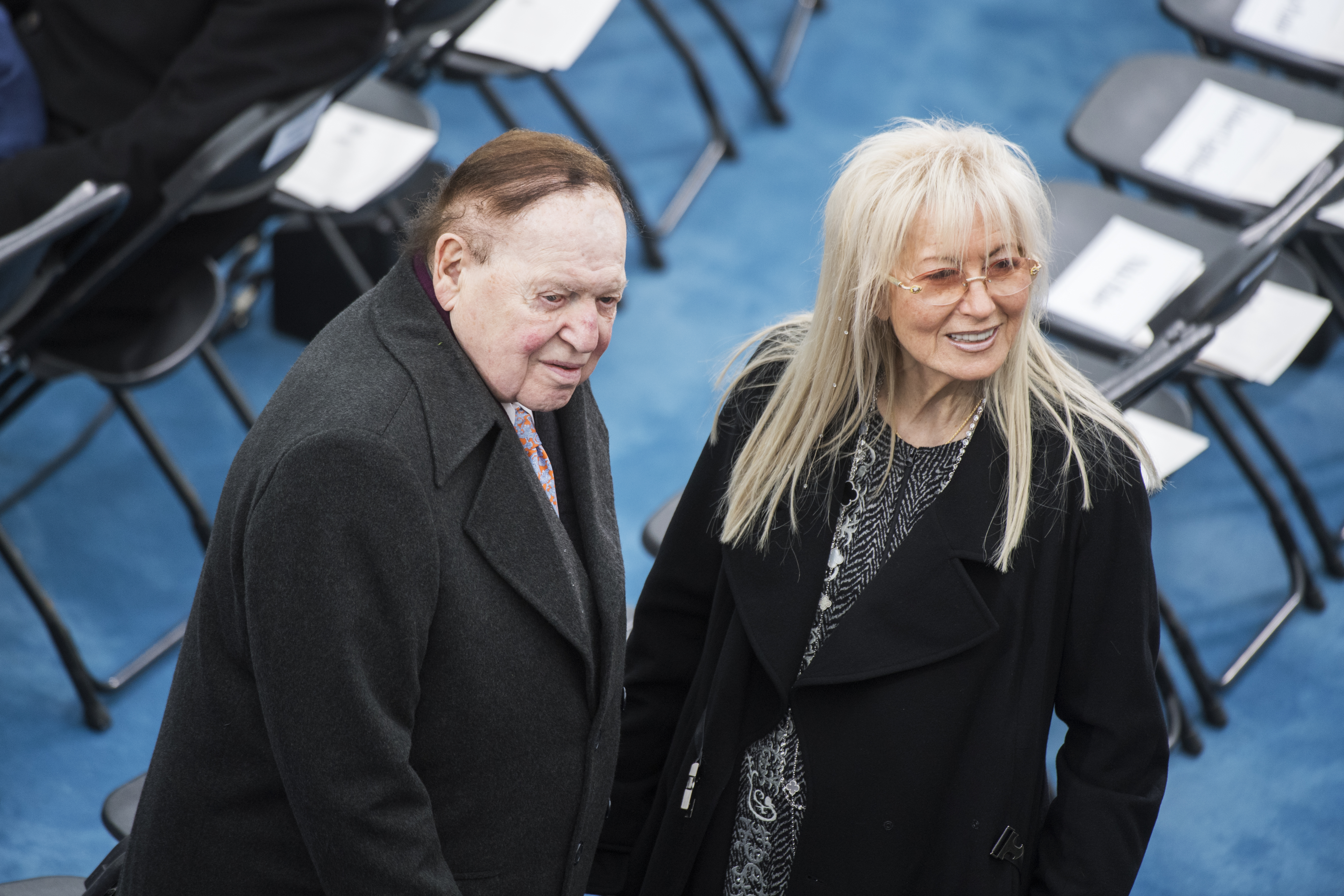 UNITED STATES - JANUARY 20: Sheldon and Miriam Adelson wait for Donald J. Trump to be sworn in as the 45th President of the United States on the West Front of the Capitol, January 20, 2017.