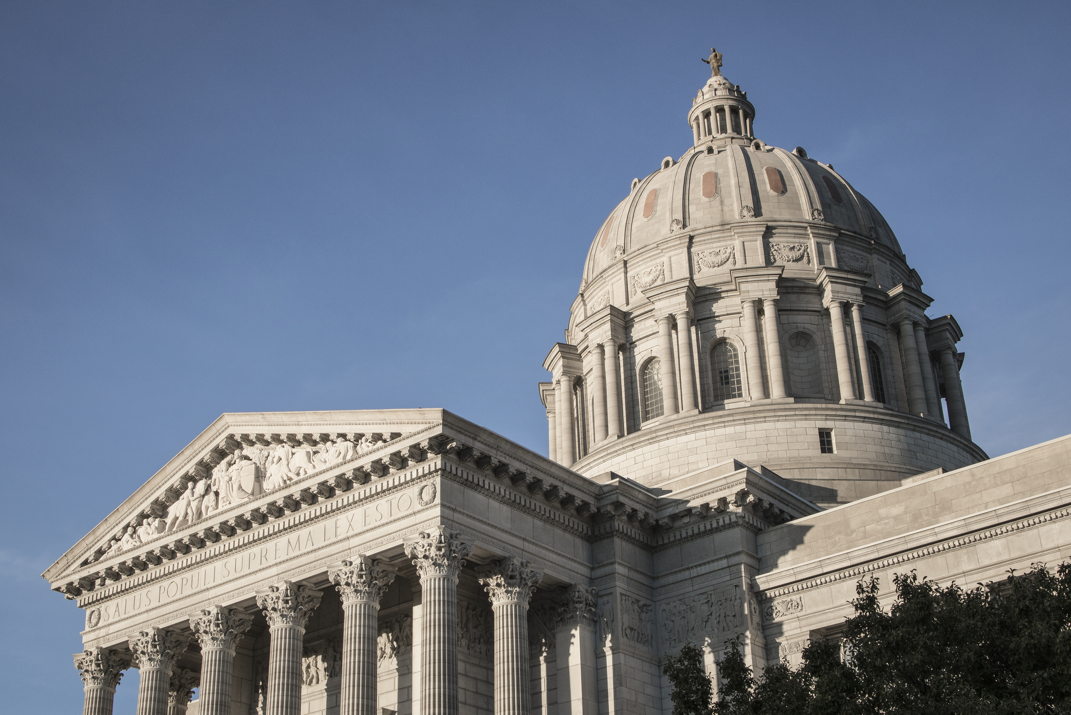 Missouri state capitol building dome in Jefferson City, Missouri.