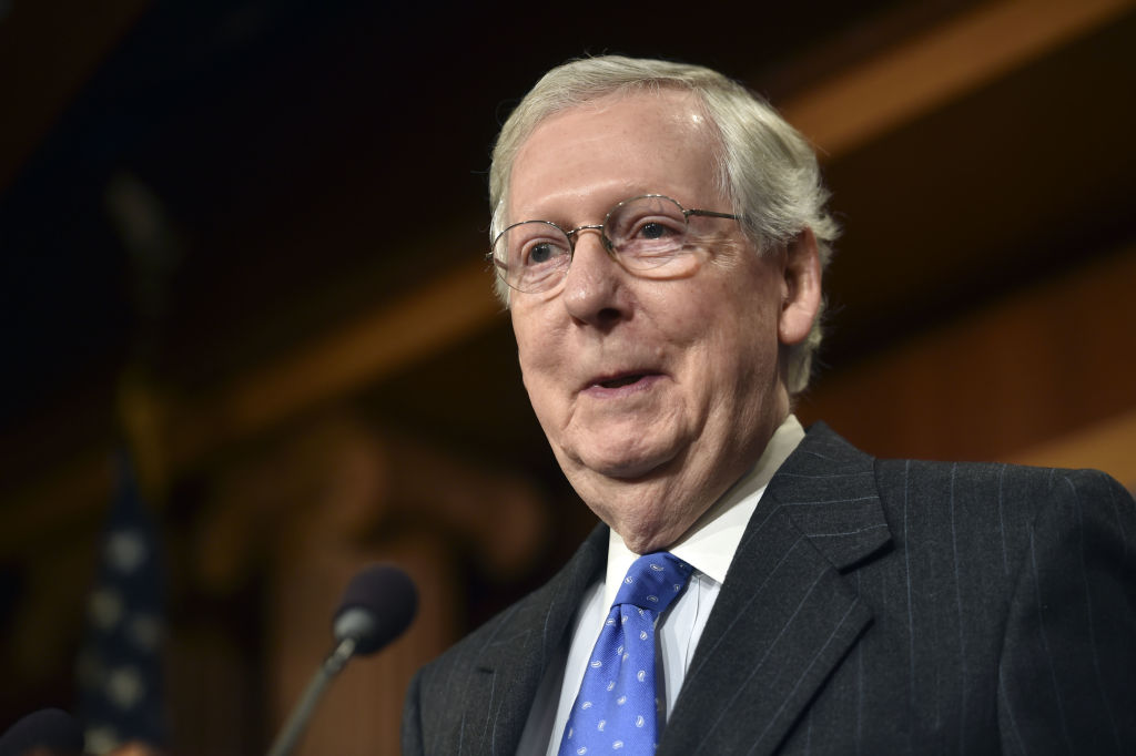 US Senate Majority Leader Mitch McConnell holds a media availability on November 7, 2018 on Capitol Hill in Washington, DC after the midterm elections.