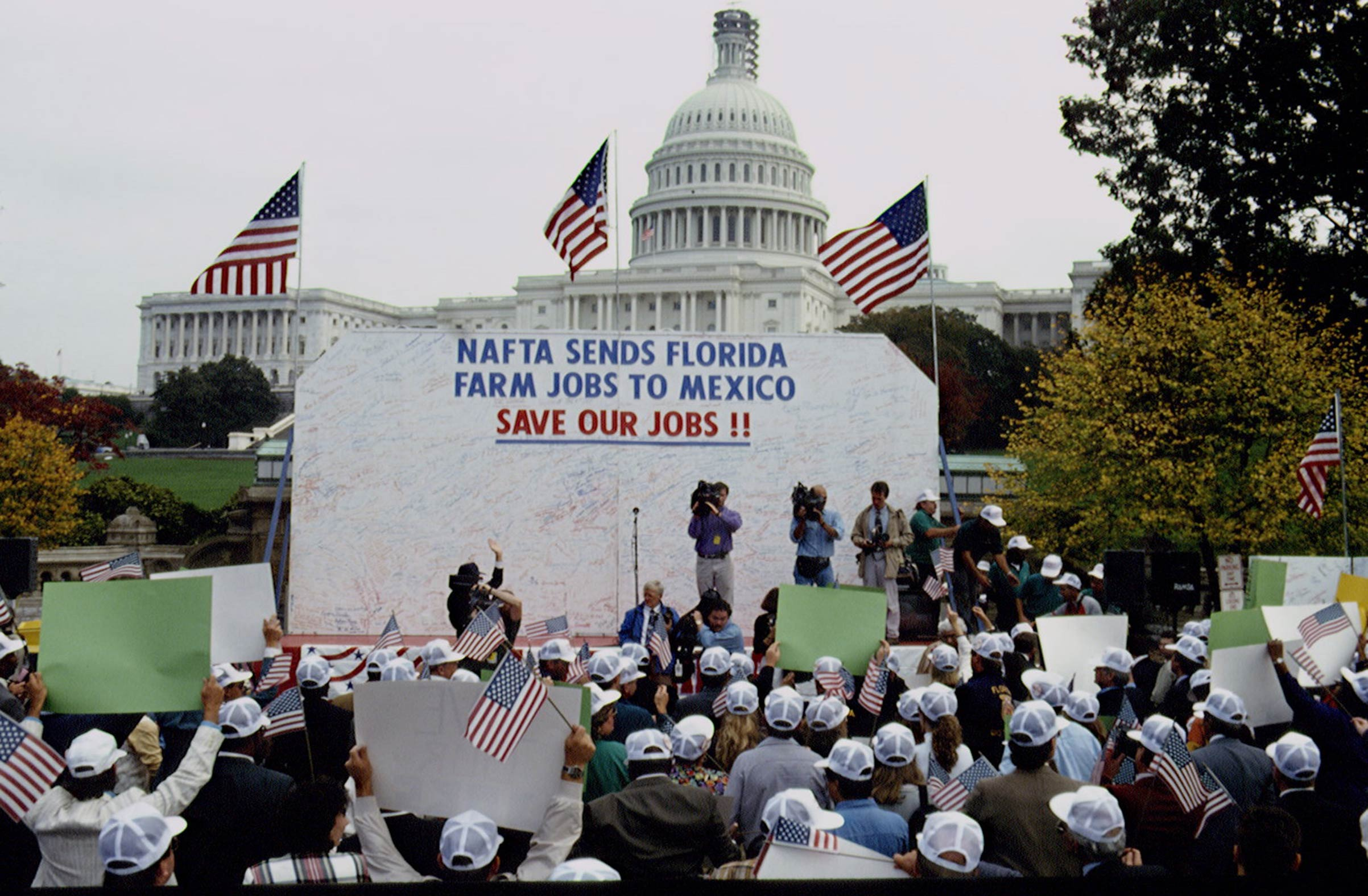 A farmer protest against NAFTA on Oct. 21, 1993, in front of the Capitol in Washington, D.C.
