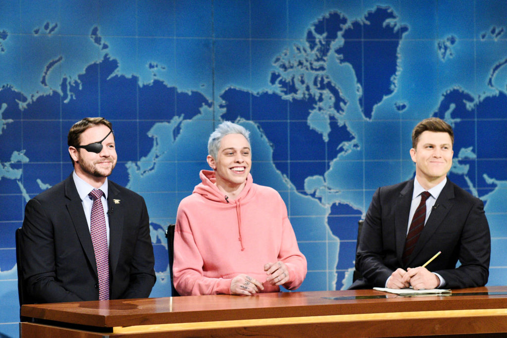 Congressman-elect & Navy Veteran Dan Crenshaw, Pete Davidson, and Anchor Colin Jost during  Weekend Update  in Studio 8H on Saturday, November 10, 2018