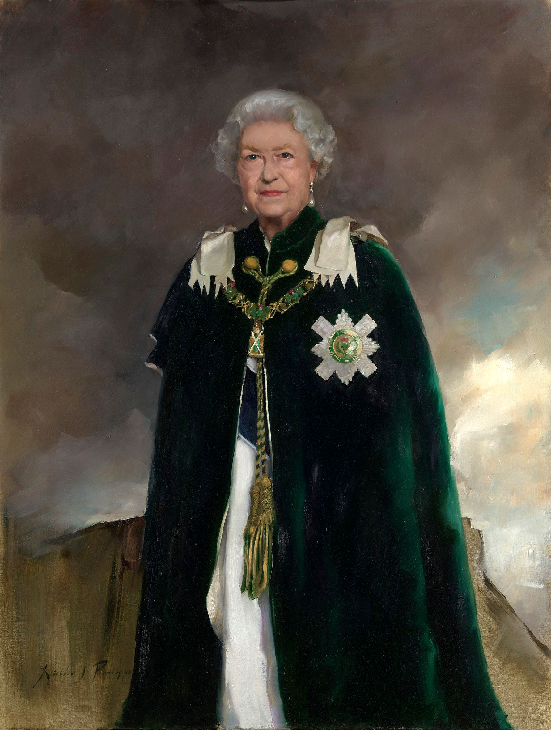 An undated handout photo made available by the British Royal Collection on Nov. 29, 2018 shows a new portrait of Her Majesty Queen Elizabeth II by painter Nicky Philipps. It depicts the 92-year-old queen wearing grand ceremonial robes and an Order of the Thistle collar. The painting was placed in the Royal Dining Room at Holyrood House in Edinburgh, Scotland.