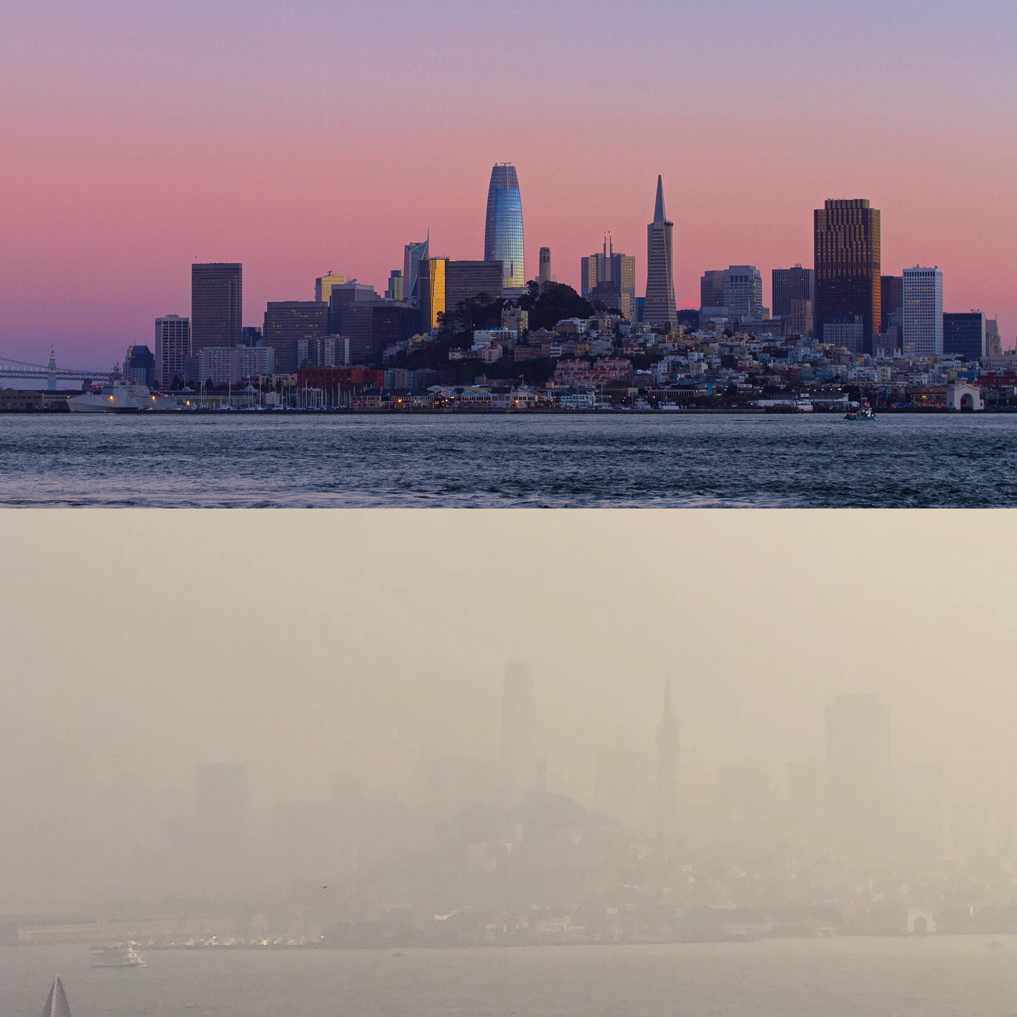 Marc Stokes, who works on Alcatraz in San Francisco, posted side-by-side photos of the view from the island on from the week of Oct. 28 and Nov. 10, two days after a fire started in Butte County, Calif.