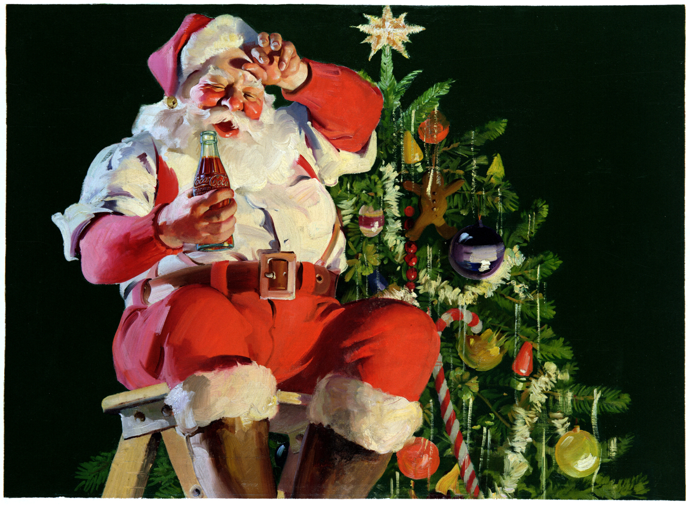 Santa Claus is depicted in this 1935 Coca-Cola advertisement by Haddon Sundblom, who painted St. Nick for the brand for decades.