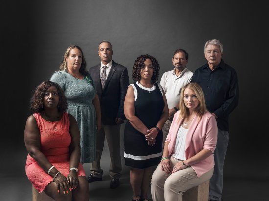 Seven parents of seven dead students. From left: Pamela Wright- Young, Melissa Willey, Andrew Pollack, Darshell Scott, Tom Mauser, Nicole Hockley and Darrell Scott