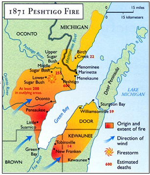 Map of the areas affected by the Peshtigo Fire in 1871.