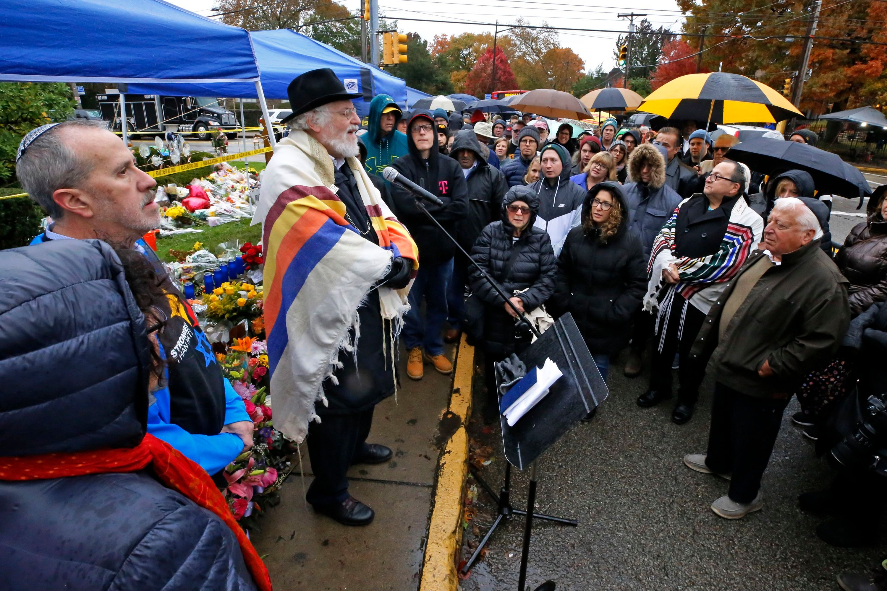 A Shabbat morning service led by a former Rabbi at Tree of Life Synagogue. Rabbi Chuck Diamond is held outside the Tree of Life Synagogue in Pittsburgh on Nov. 3, 2018, a week after 11 people were killed and six wound when their worship was interrupted by a gunman's bullets on Saturday, Oct. 27, 2018