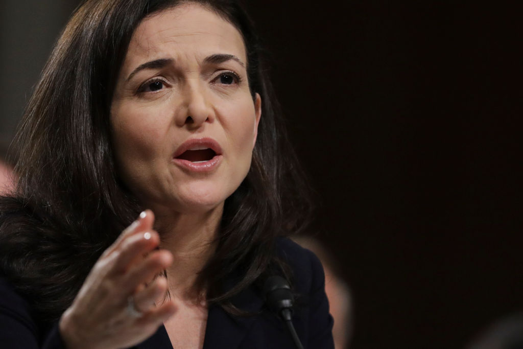 Facebook chief operating officer Sheryl Sandberg testifies during a Senate Intelligence Committee hearing concerning foreign influence operations' use of social media platforms, on Capitol Hill, September 5, 2018 in Washington, D.C.