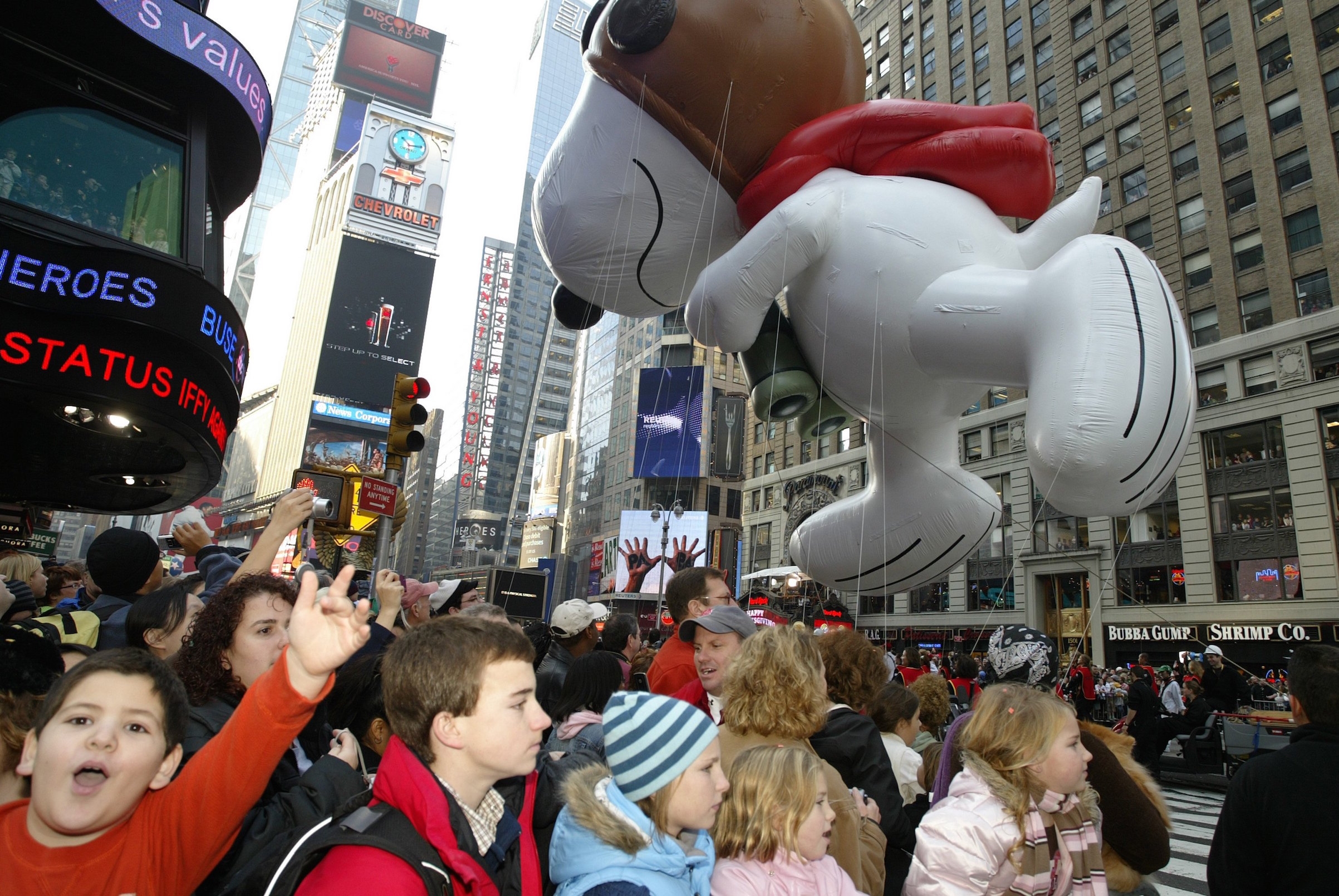 A balloon of Snoopy as the Flying Ace at the 81st Annual Macy's Thanksgiving Day Parade, on Nov. 22, 2007