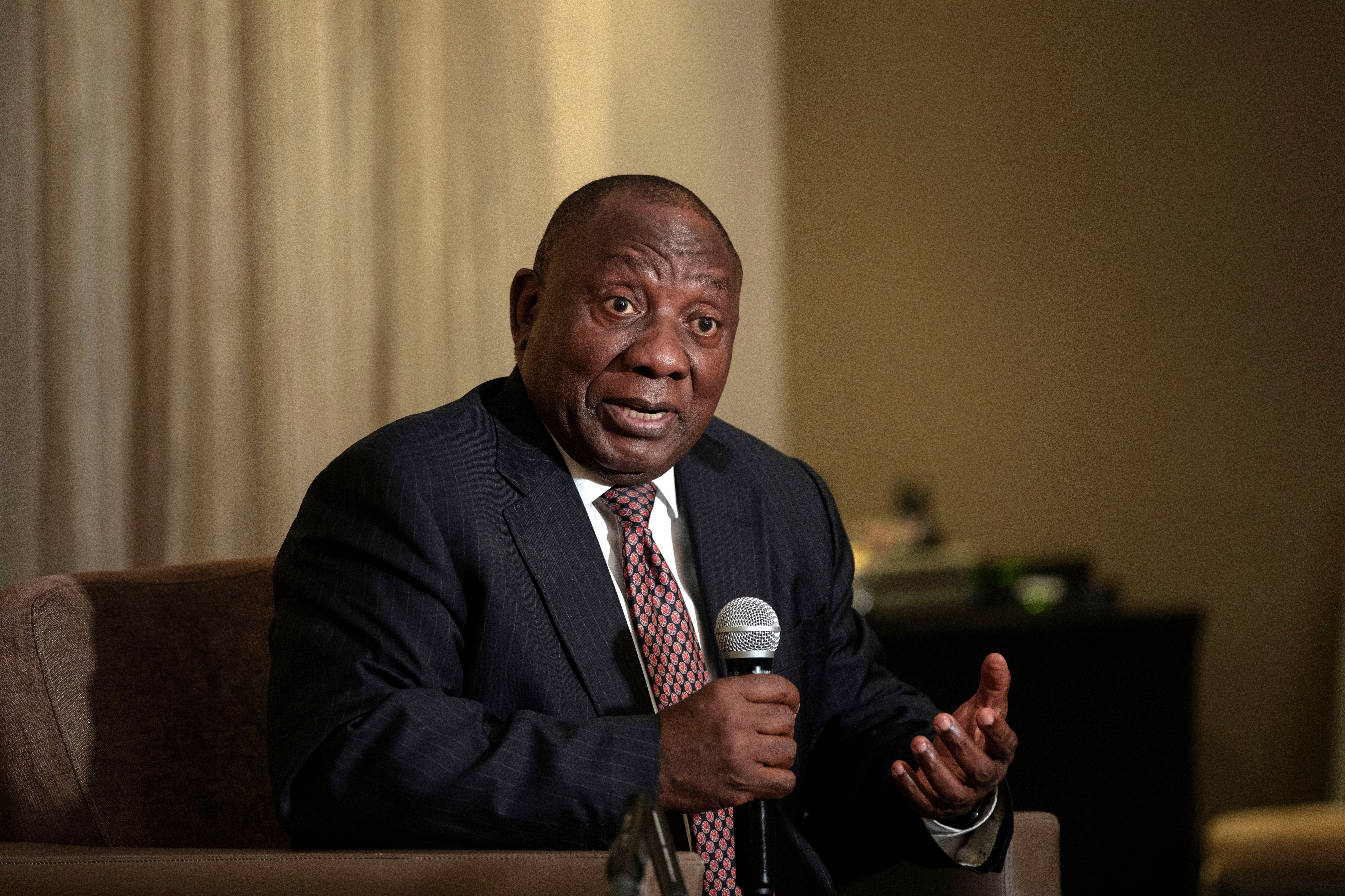South African President Cyril Ramaphosa in Rosebank, Johannesburg, South Africa, on Nov. 1, 2018. The country's parliament broke into a brawl during a question-and-answer session with President Ramaphosa on Tuesday.