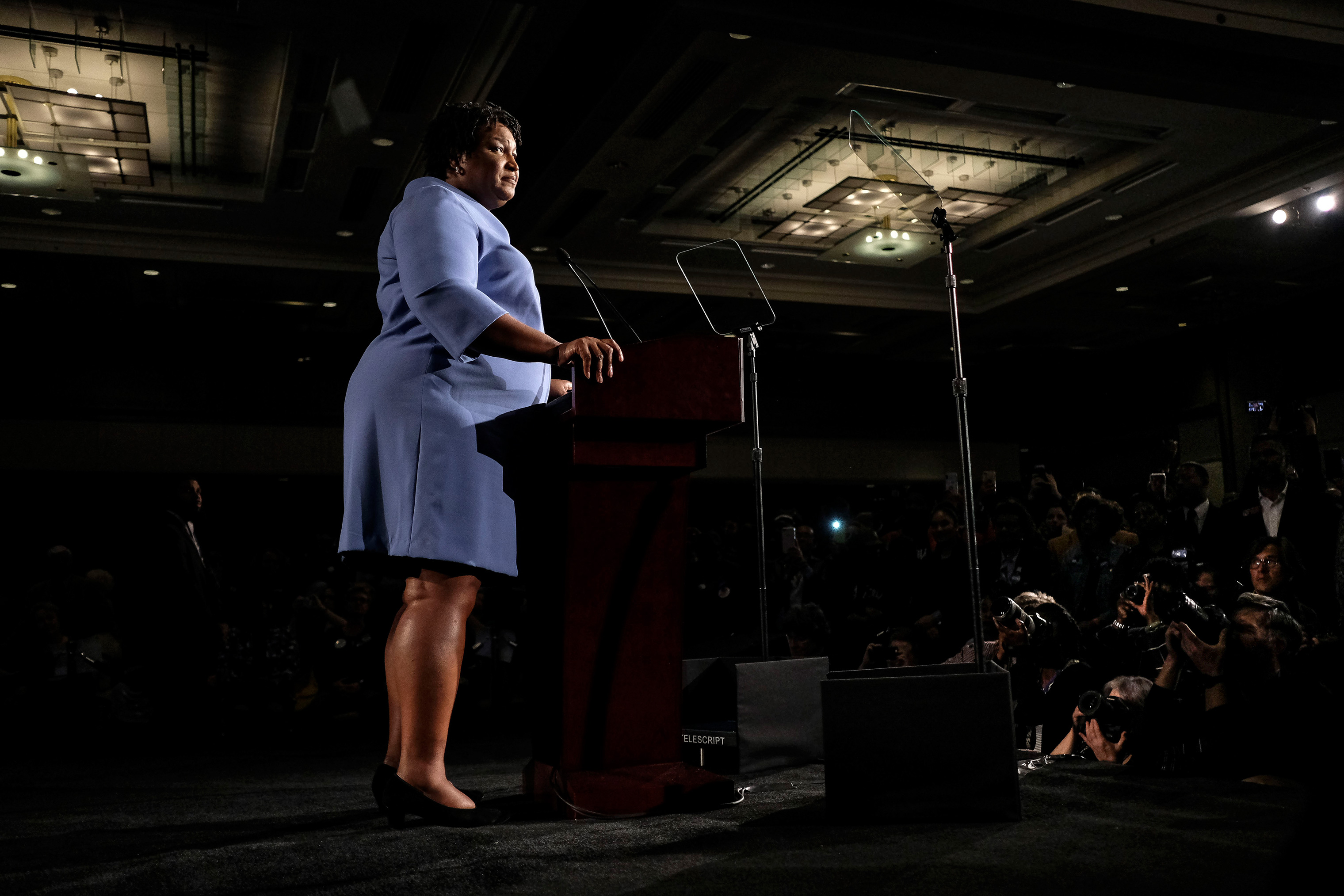 Democratic gubernatorial candidate Stacey Abrams speaks during the election night watch party at the Hyatt Regency hotel in Atlanta, Ga.