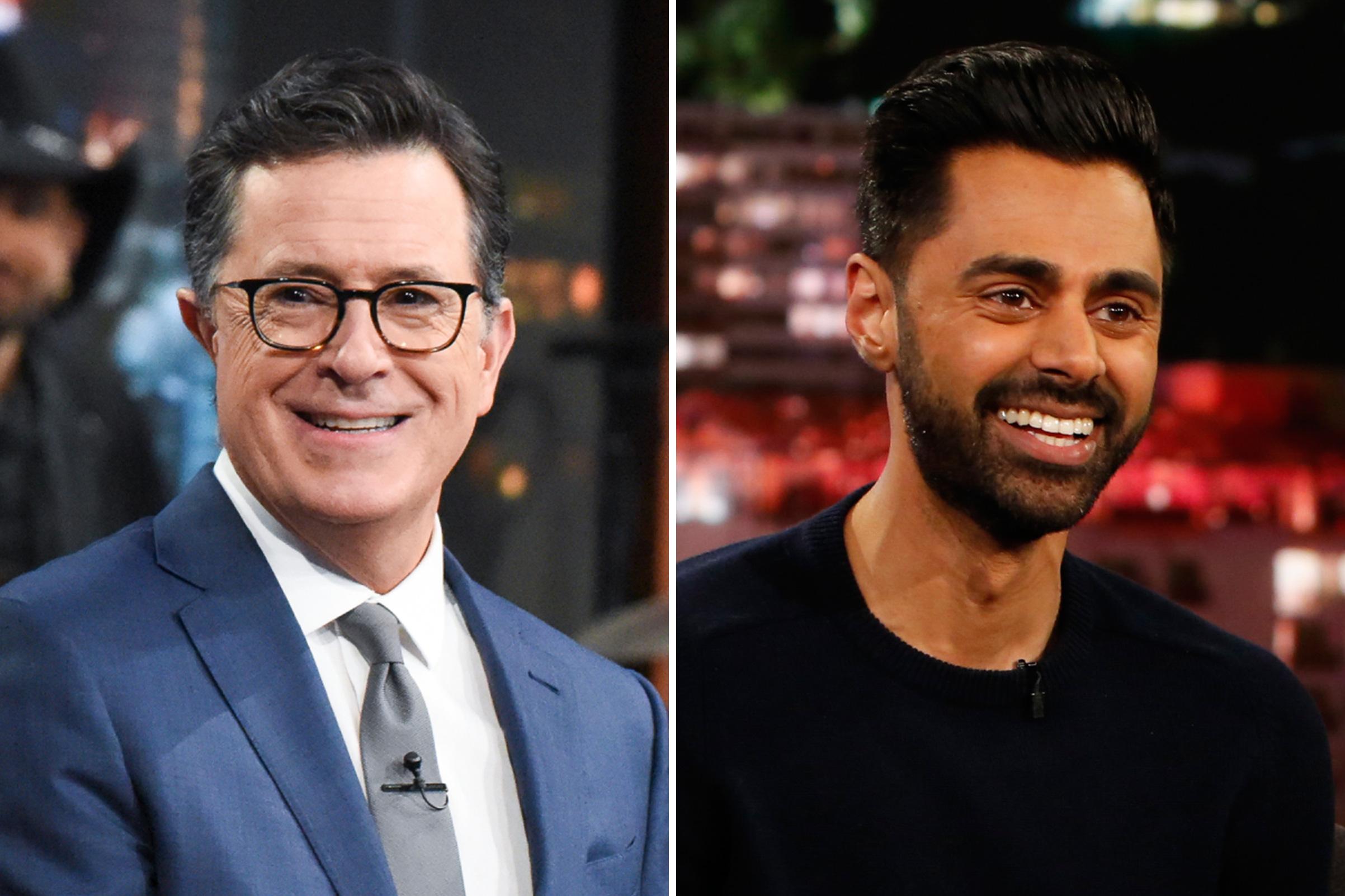 Stephen Colbert and Hasan Minhaj