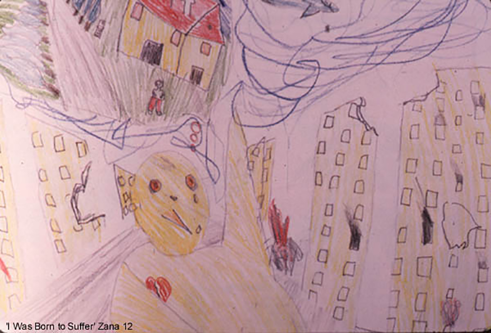 A drawing from Cambodia in 1979, titled by 12-year-old Zana:  I Was Born to Suffer