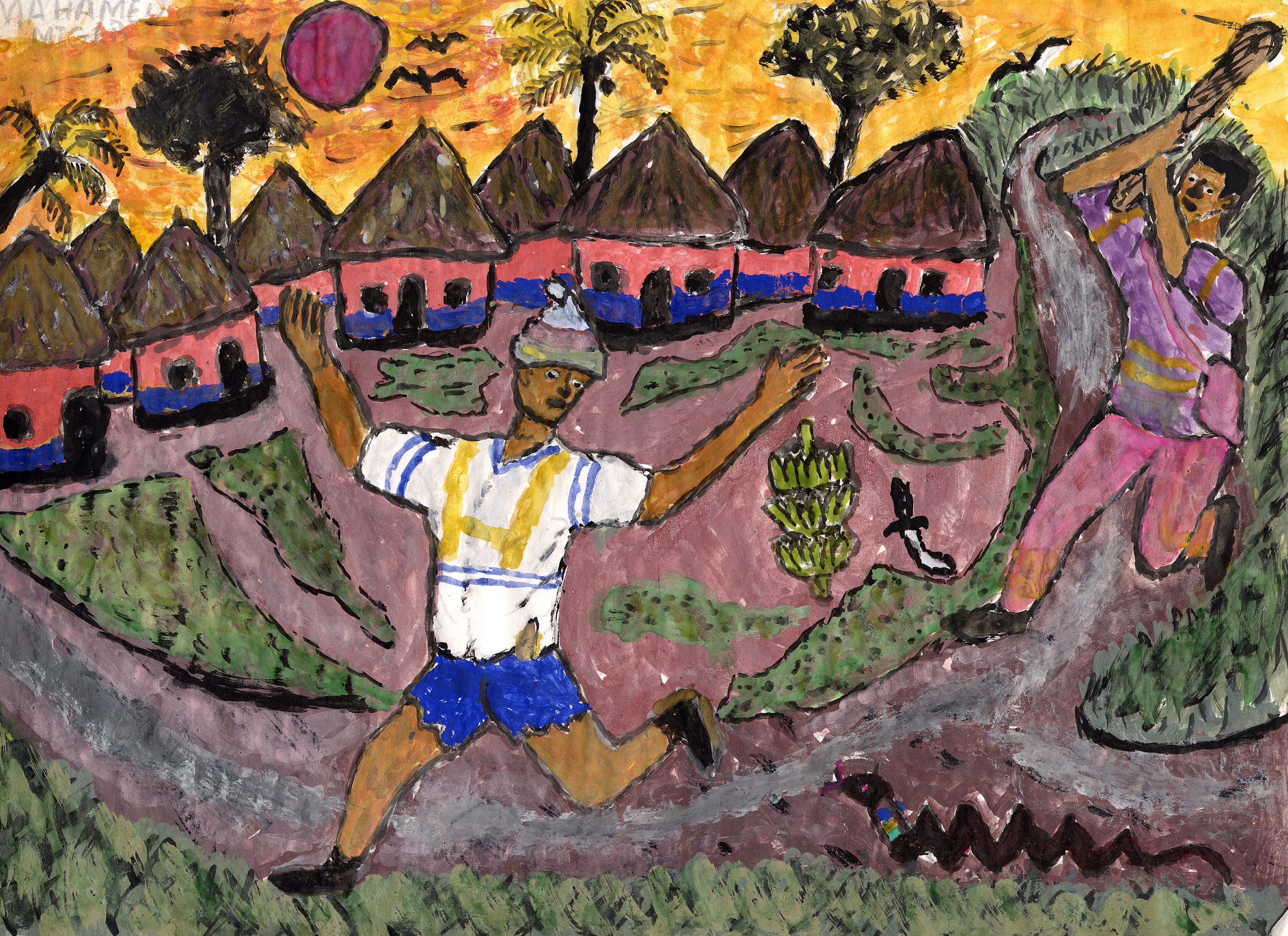 A drawing by a child in Sierra Leone, created around 2001.