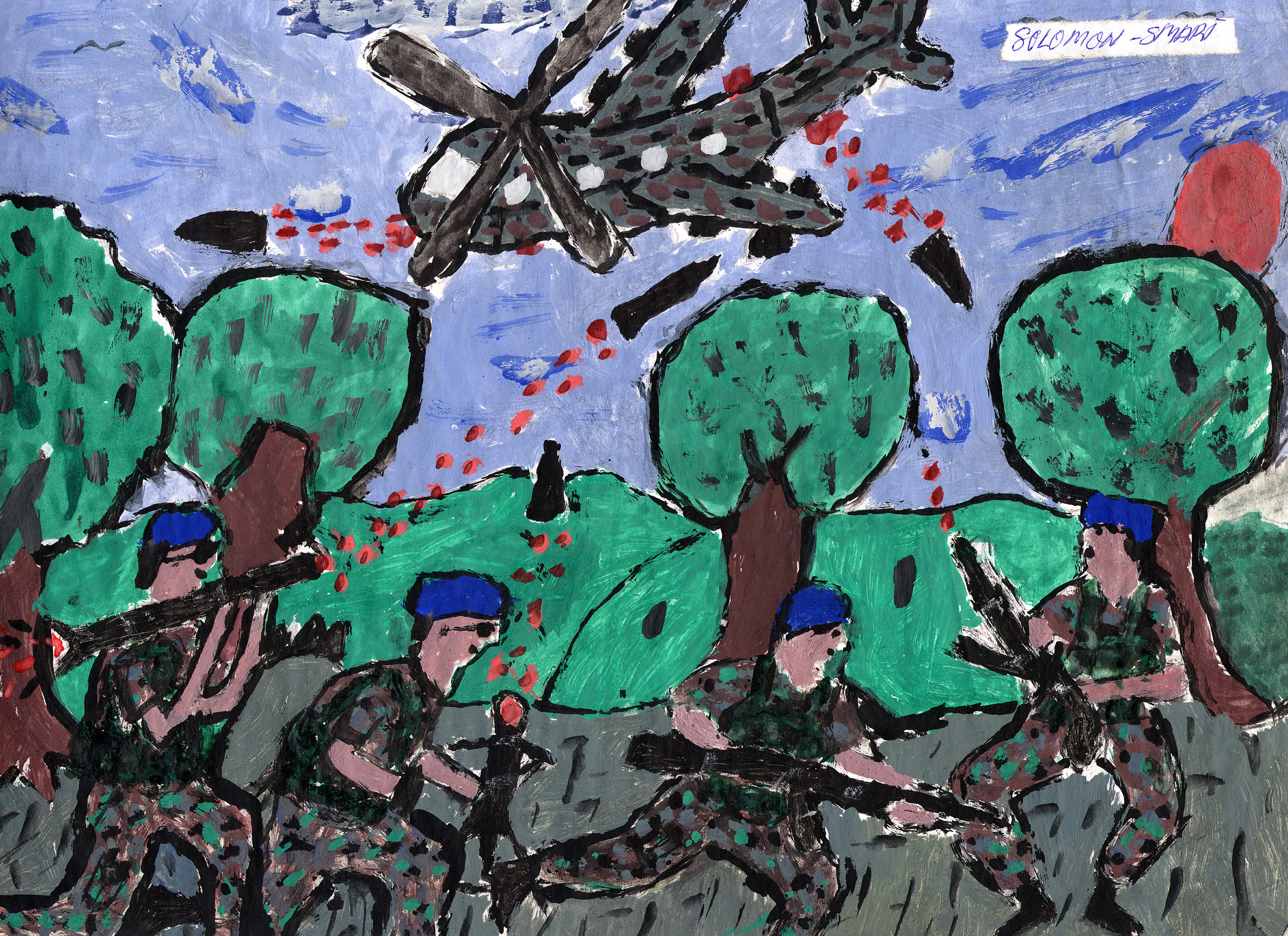 Sierra Leone suffered a civil war from 1991 to 2002. Children made up 50% of the rebel fighting force and a quarter of the government's forces. Former child soldiers were transferred to the IRC's care centers, where they drew images of their experiences.
