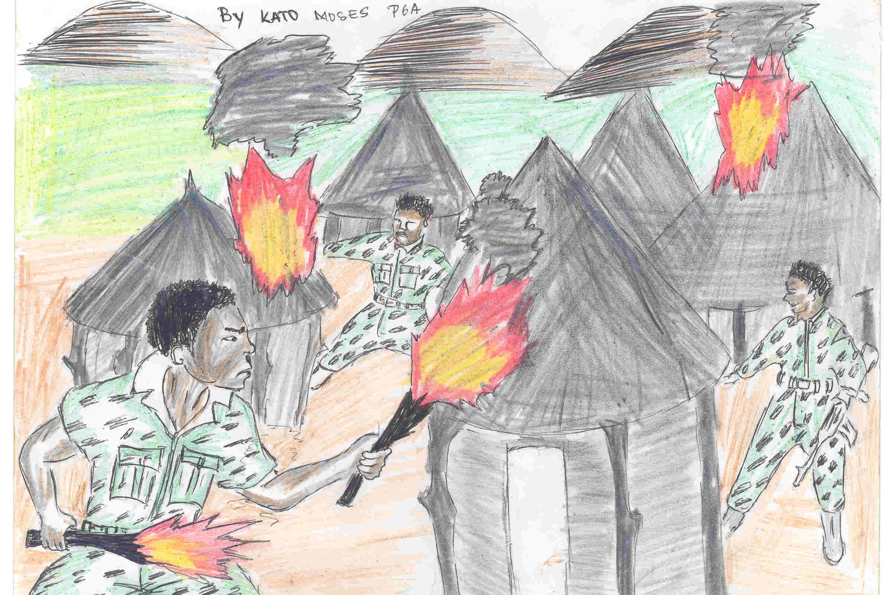 Drawings made by former child soldiers in Uganda.