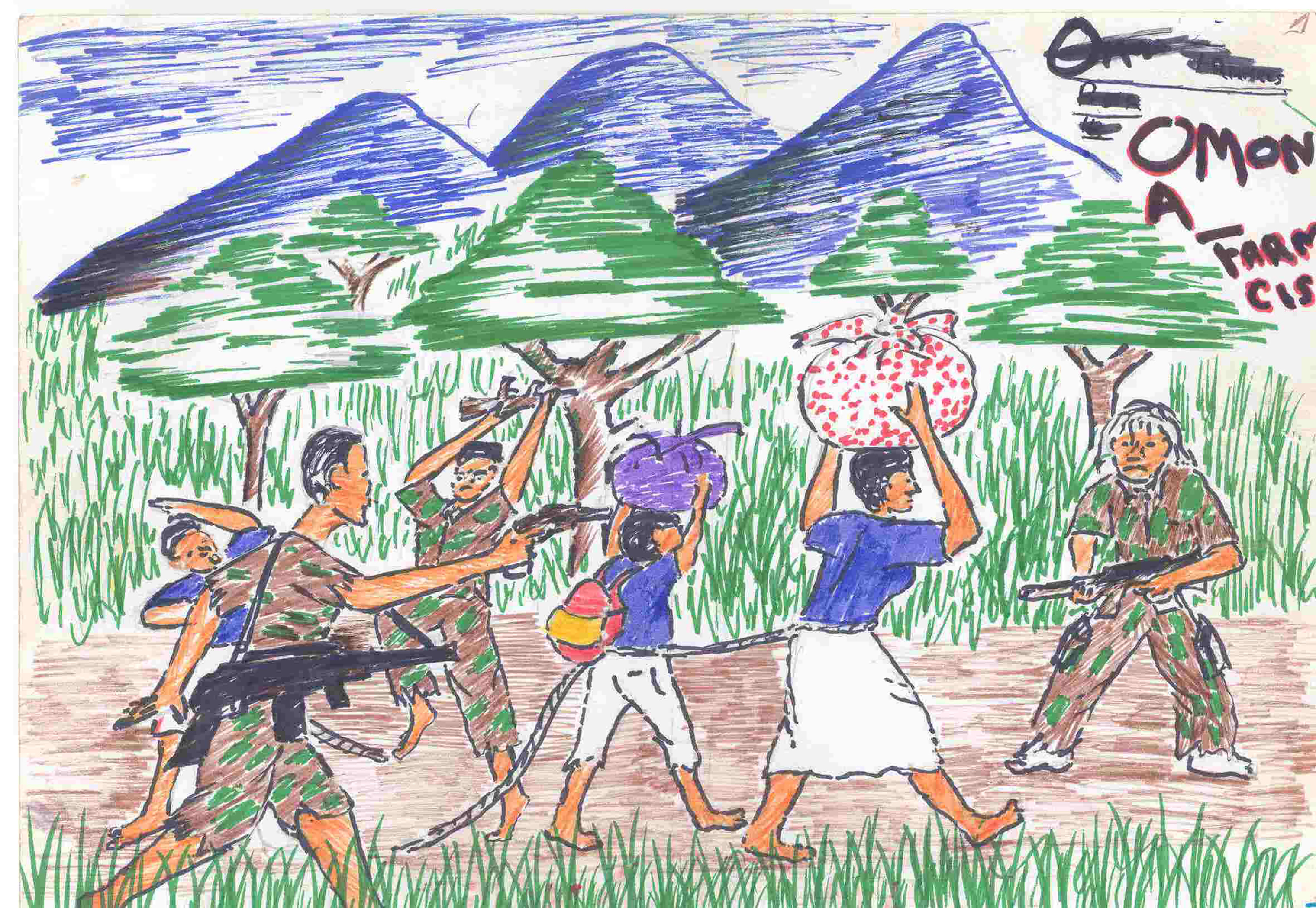 A drawing made by former child soldier in Uganda in 2002. In Uganda, the IRC worked with children during the height of the Lord's Resistance Army's reign of terror.