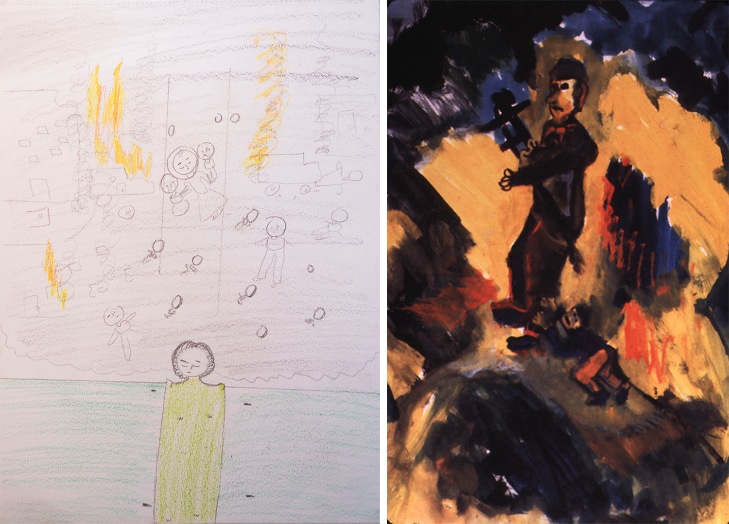 Left: Hiba (not her real name), a 16 year old Syrian girl, escaped to Jordan with her three brothers after a bombing took the lives of her parents and sister. After spending three months at IRC's child protection reception area, she is reunified with her grandparents in Amman. She draws to express herself, and says of this painting,  a couple of days ago, my brother told me that he dreamt of the bombing. So I drew him, how he's sleeping and dreaming of the bombing. I showed him the painting and he started laughing at me; he told me that this wasn't his dream. His dream was more intense.  Right: A child's drawing from Cambodia in 1979, titled:  Daddy Don't Go to War.  In the late 1970s, the IRC provided aid and resettlement to Indochinese refugees, as 2 million people poured out of Vietnam, Laos and Cambodia.